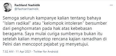 Rachland curiga alasan lain pencopotan jabatan pegawai PT Pelni (Twitter/rachlannashidik)