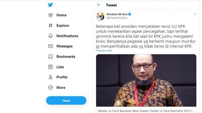 Cuitan Mardani Ali Sera soal kabar Novel Baswedan dipecat dari Komisi Pemberantasan Korupsi.[Twitter/@MardaniAliSera]