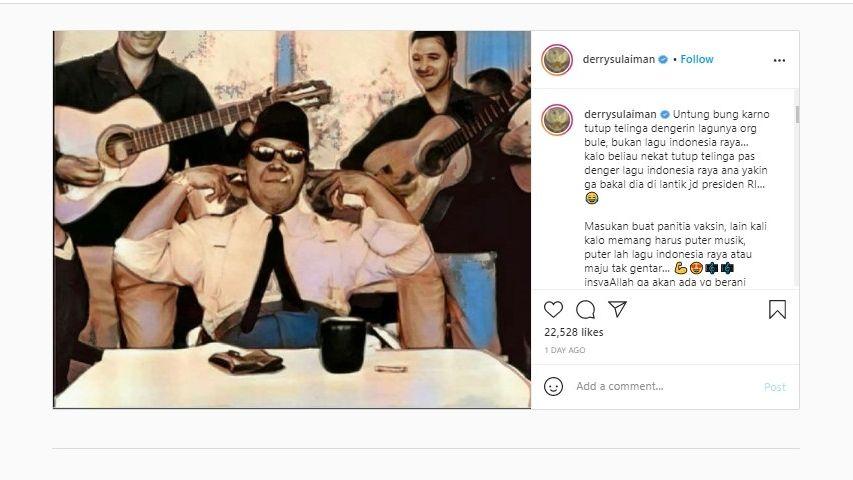 Unggahan Ustaz Derry Sulaiman soal santri tutup telinga (Instagram).