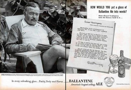 Ernest Hemingway en un anuncio para la cerveza Ballantine Ale