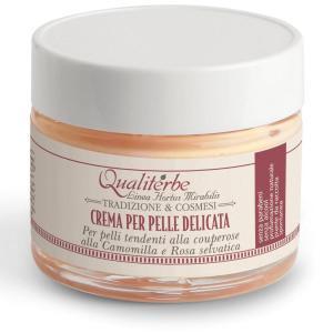 Crema viso pelle delicata all'oleolito di camomilla e infuso rosa selvatica - Qualiterbe | Erboristeria Erbainfusa Como | Shop Online