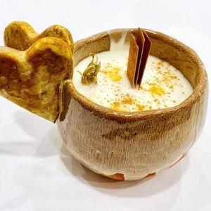 Candela in ceramica artigianale - cuori marroni - C'era in Terra   Erboristeria Erbainfusa Como   Shop Online
