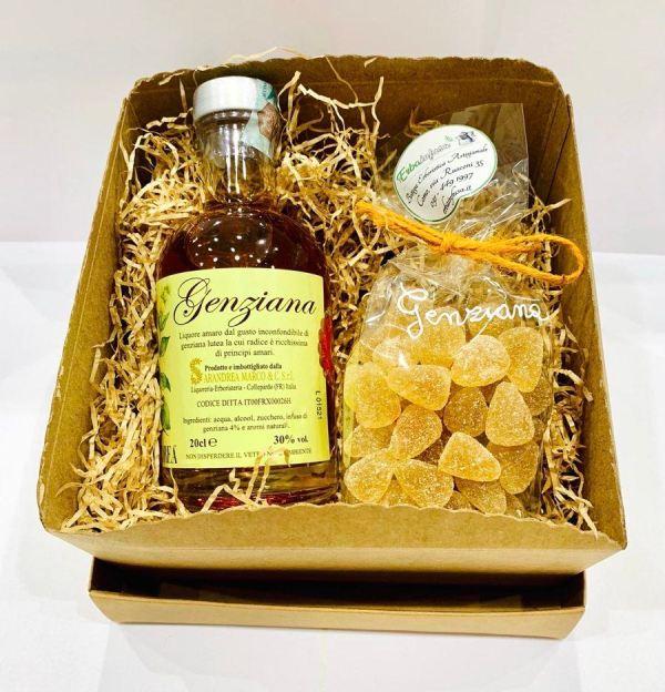 Confezione regalo - Liquore genziana e caramelle alla genziana - Erbainfusa| Erboristeria Erbainfusa Como | Shop Online