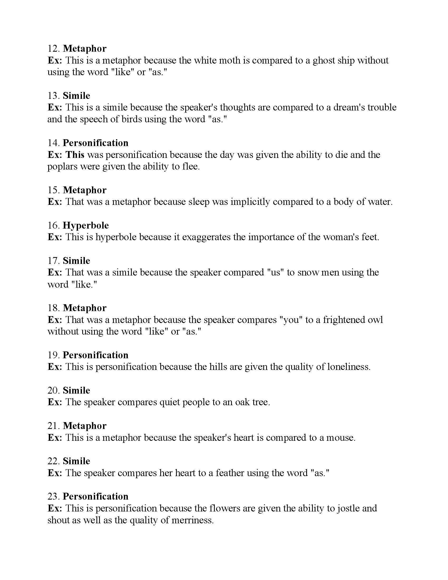 Worksheets Figures Of Speech Worksheet Cheatslist Free Worksheets For Kids Amp Printable