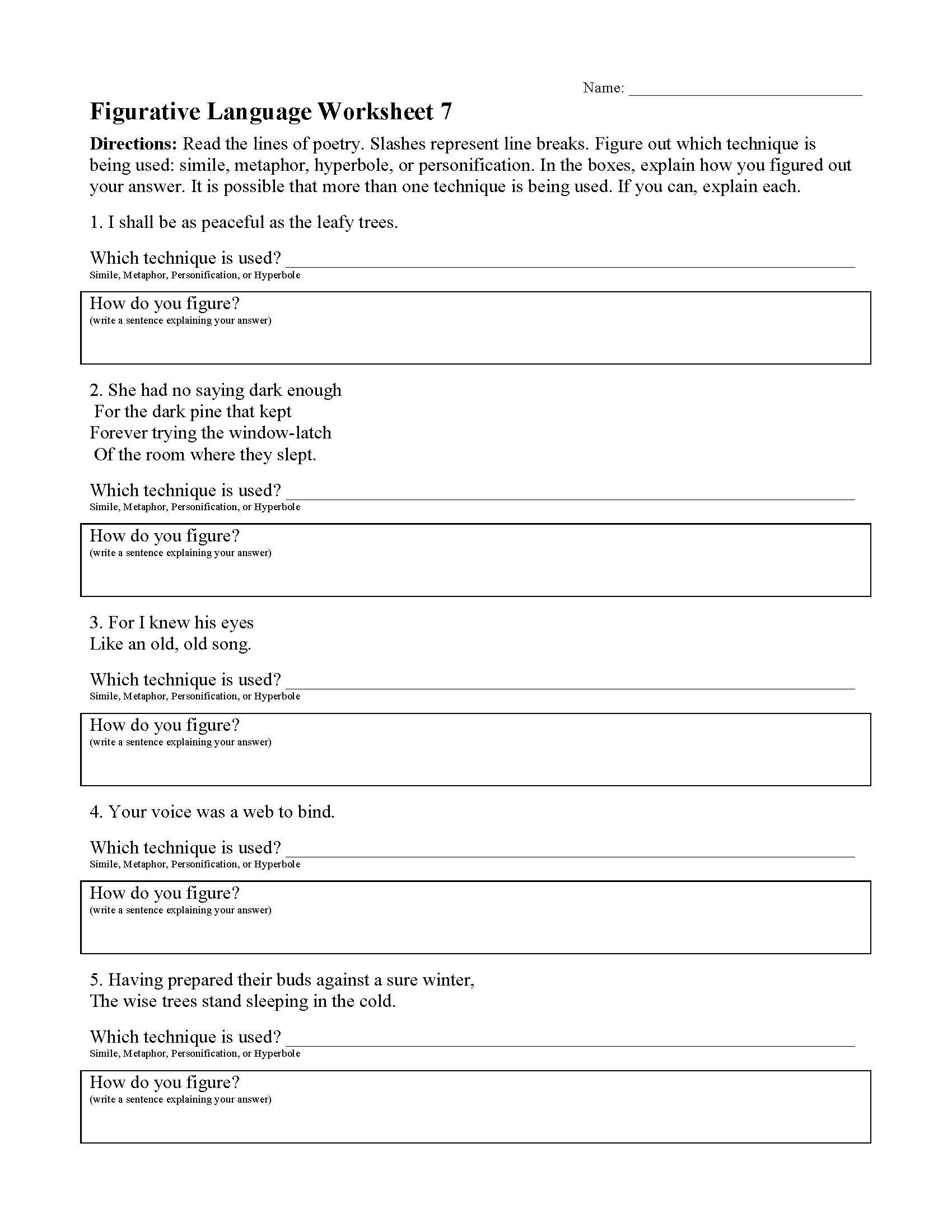 5 Figurative Language Worksheet
