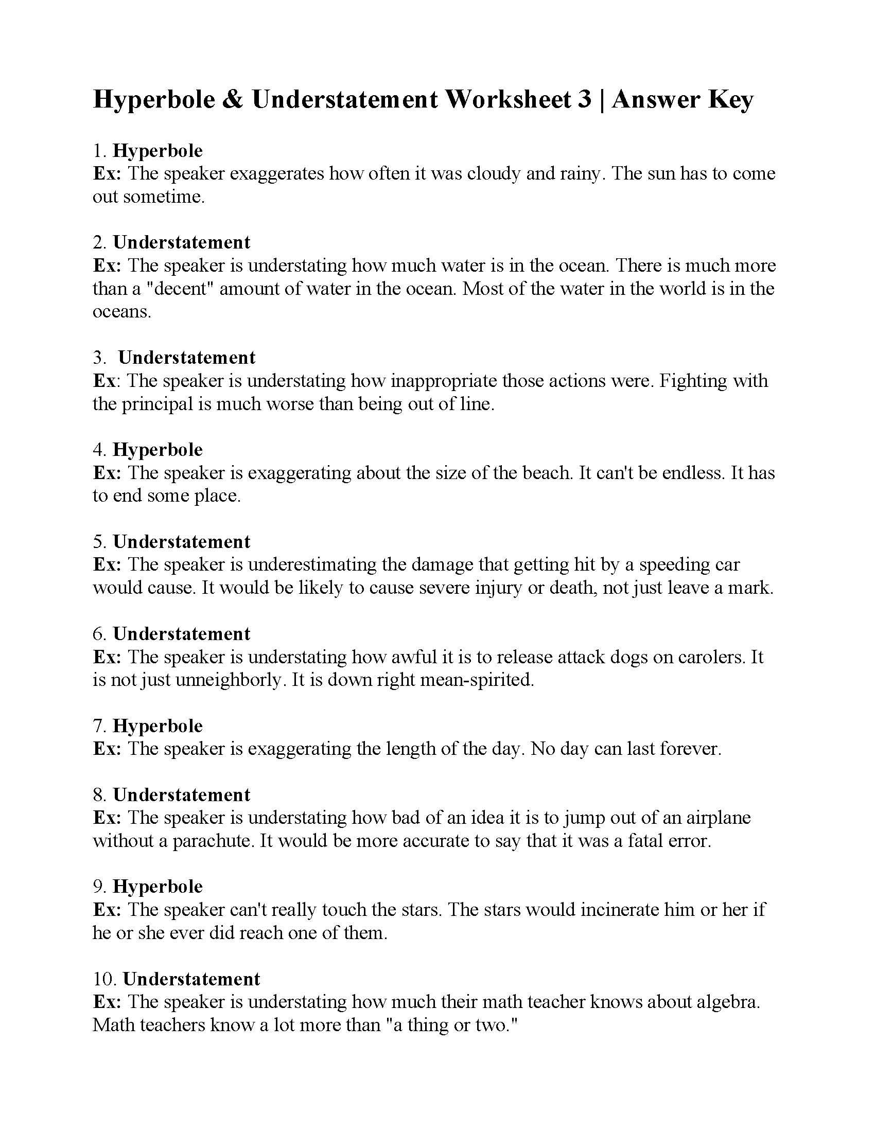 Hyperbole And Understatement Worksheet 3