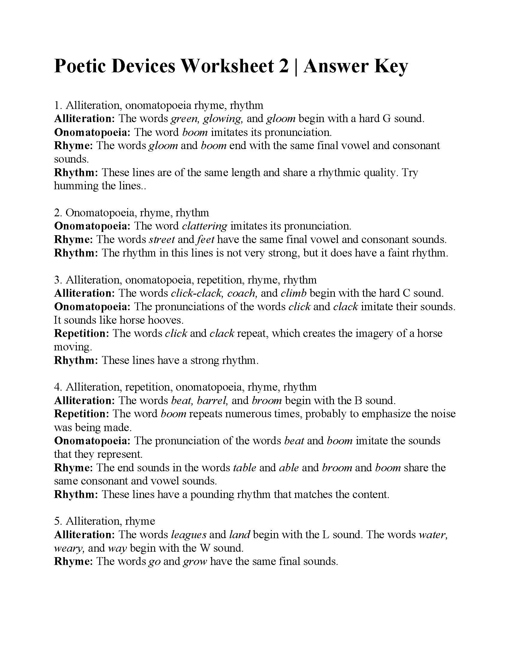 Poetic Devices Worksheet 1