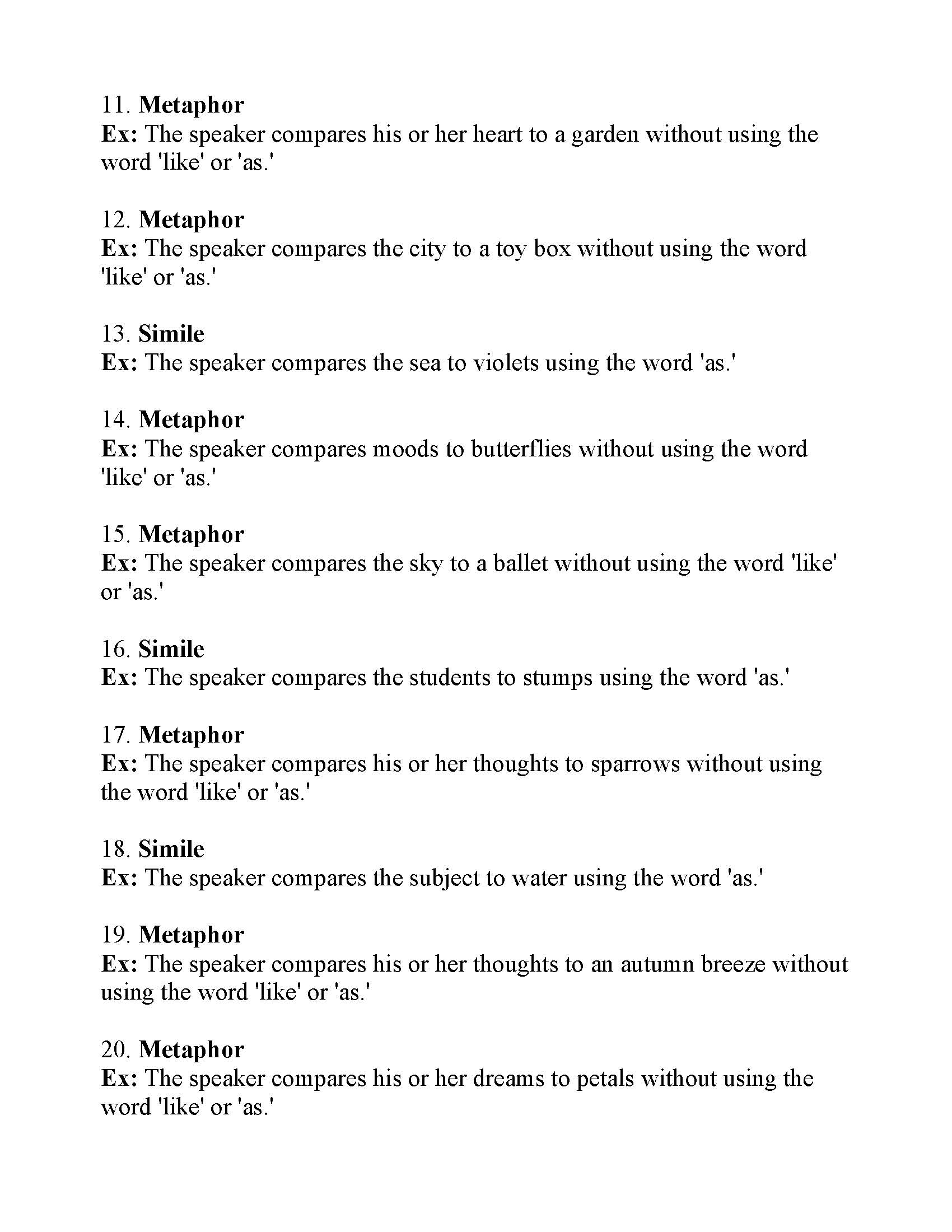 Simile Metaphor Worksheet Printable Metaphor Worksheets