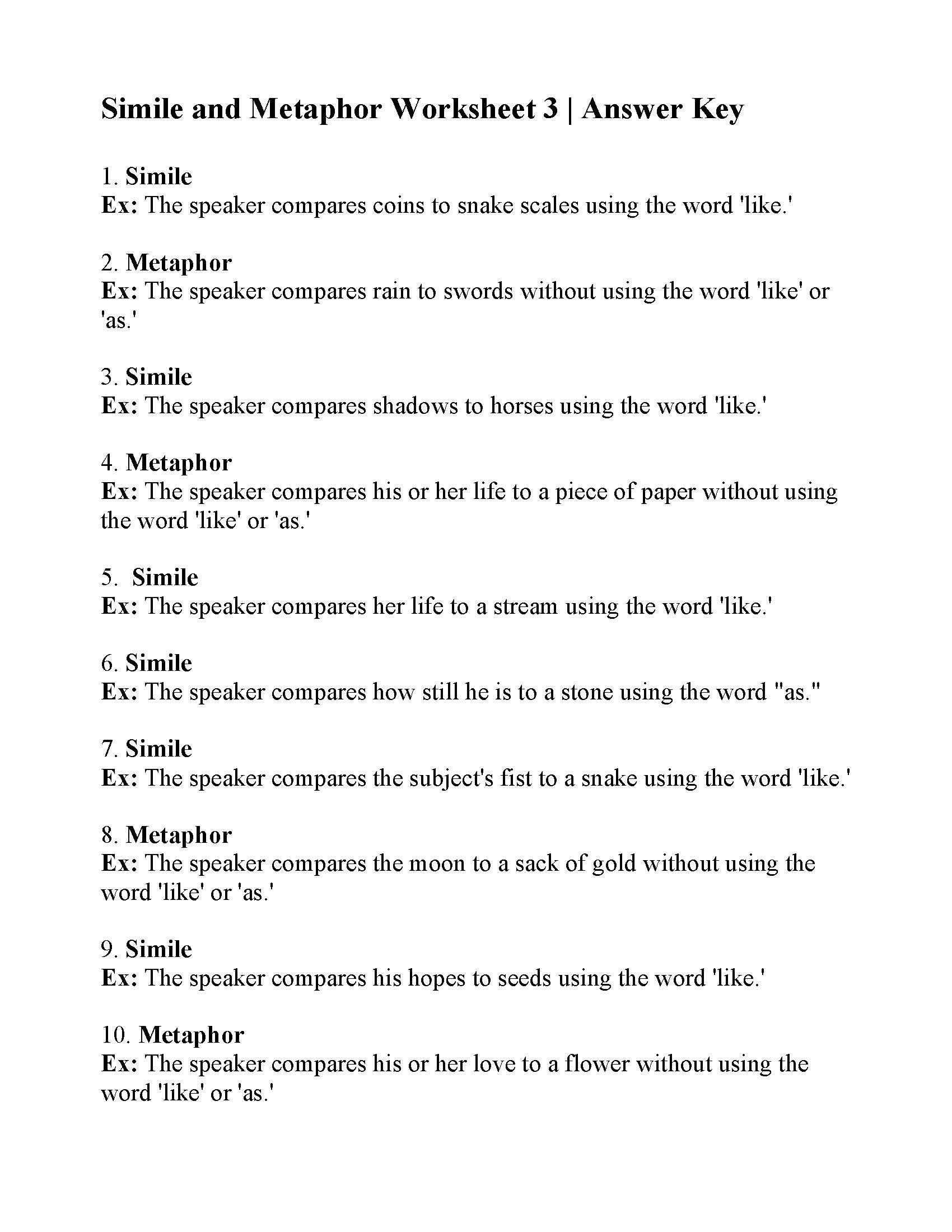 Simile And Metaphor Worksheet 3