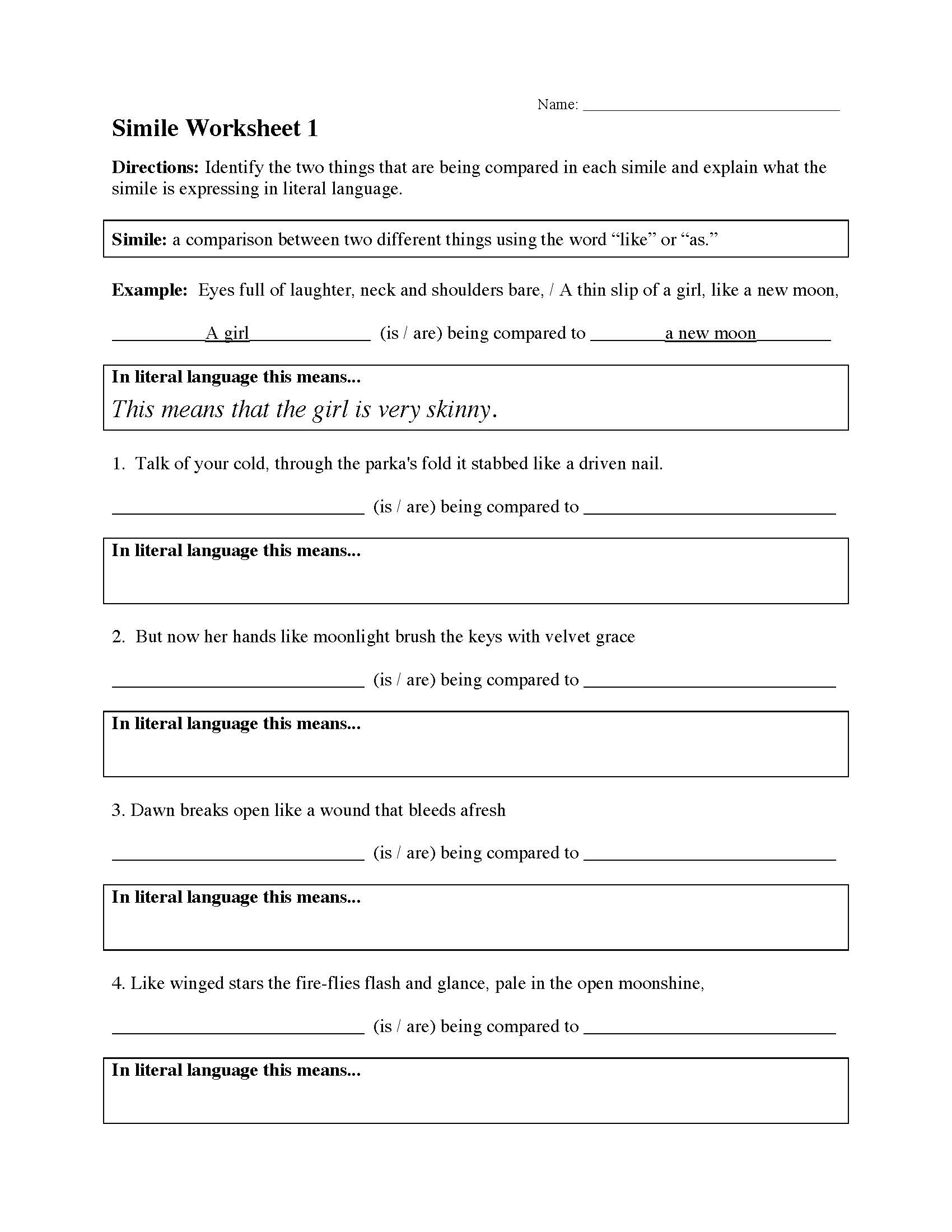 Simile Worksheet 1