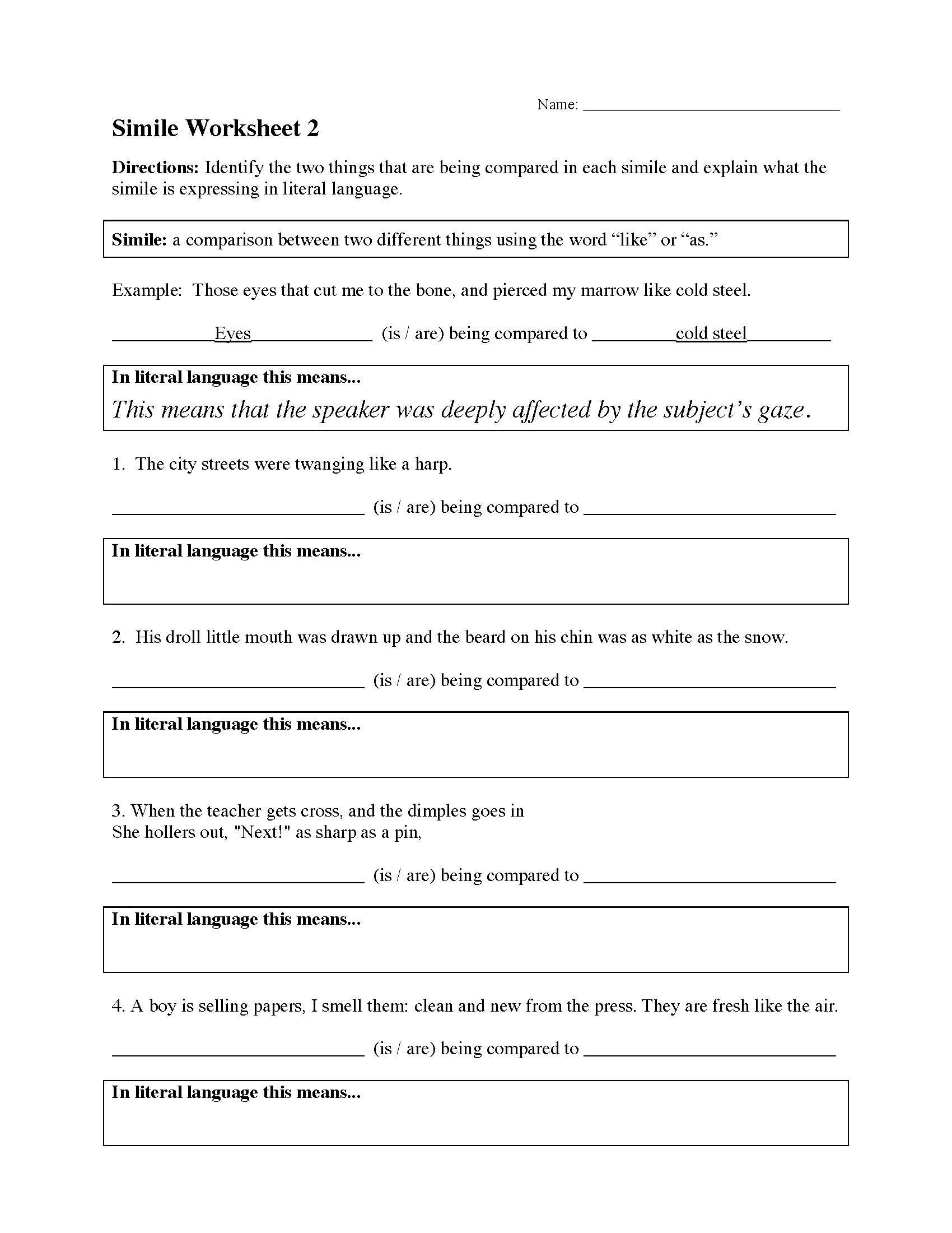 Simile Worksheet 2