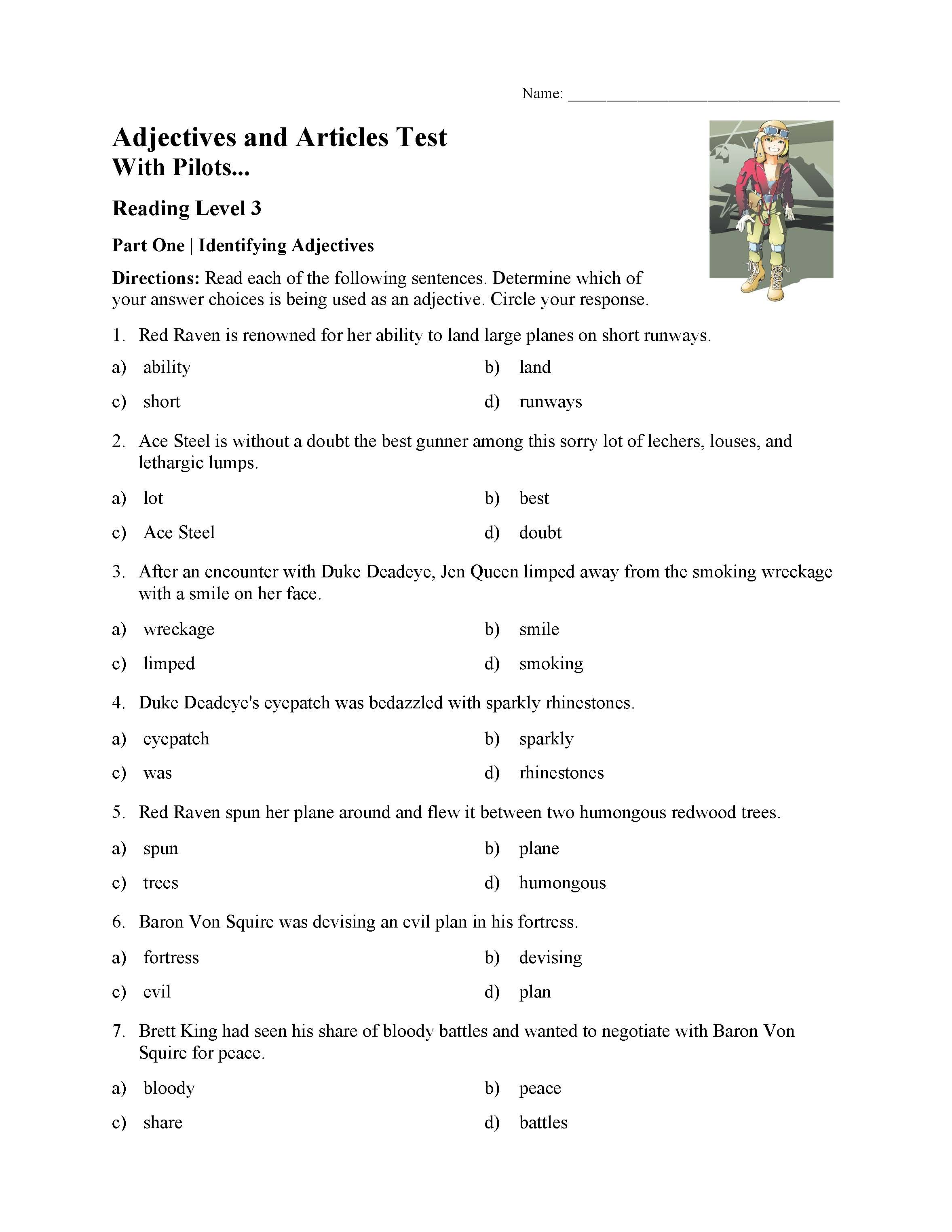 Adjectives And Articles Test With Pilots