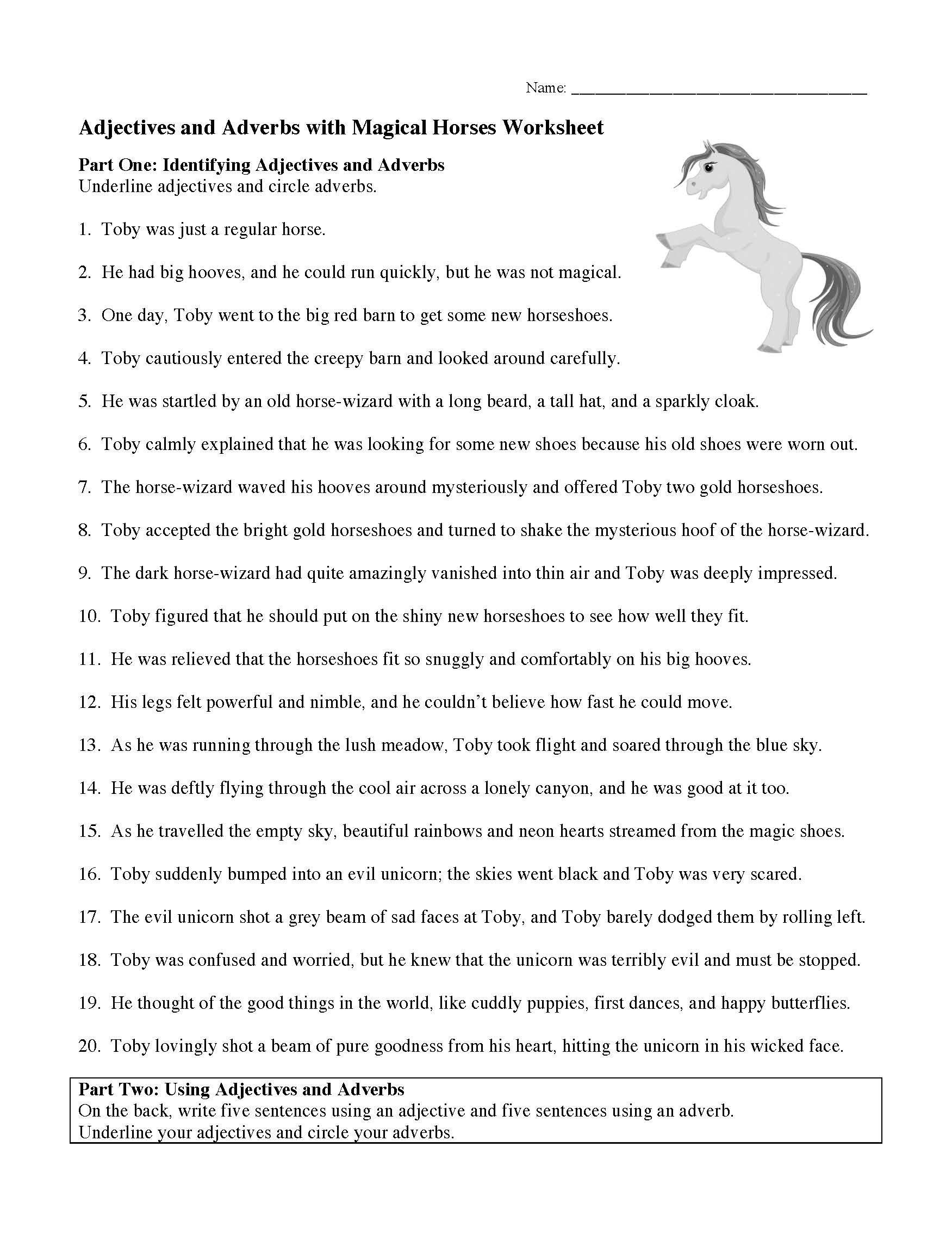 Adjectives And Adverbs With Magical Horses Worksheet