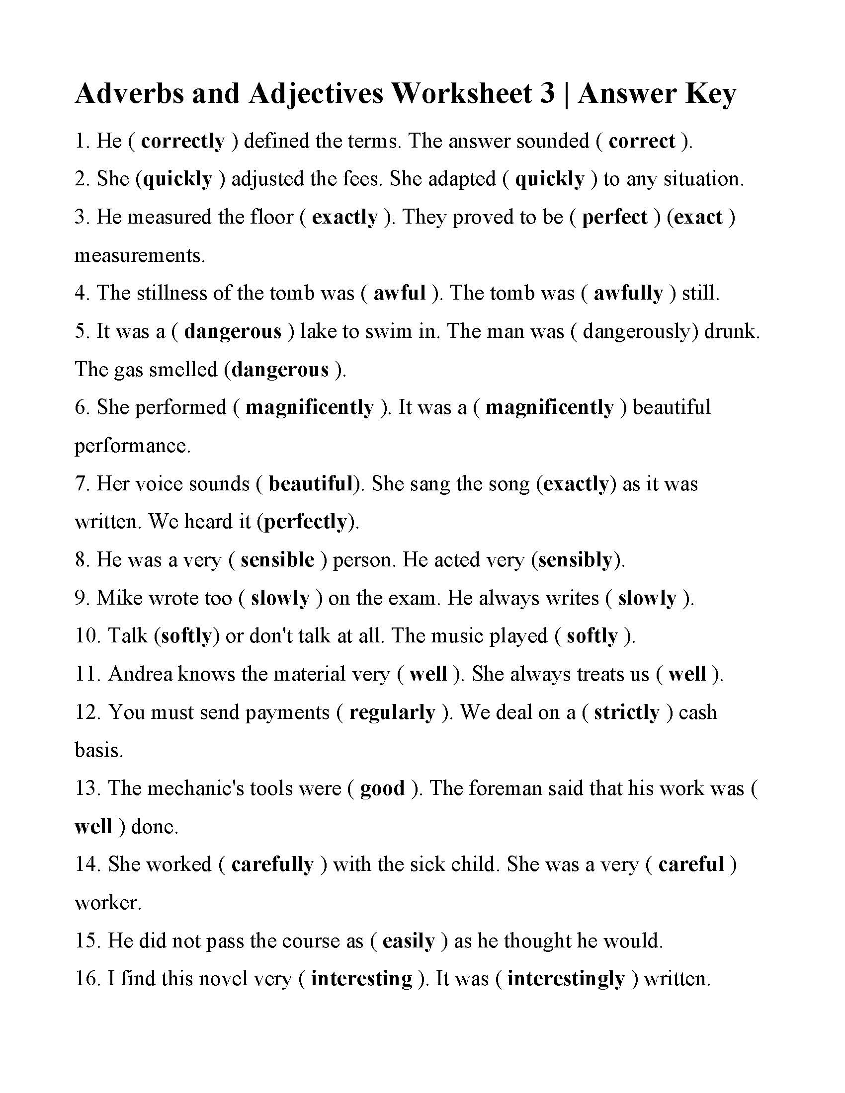 Adverbs And Adjectives Worksheet 3