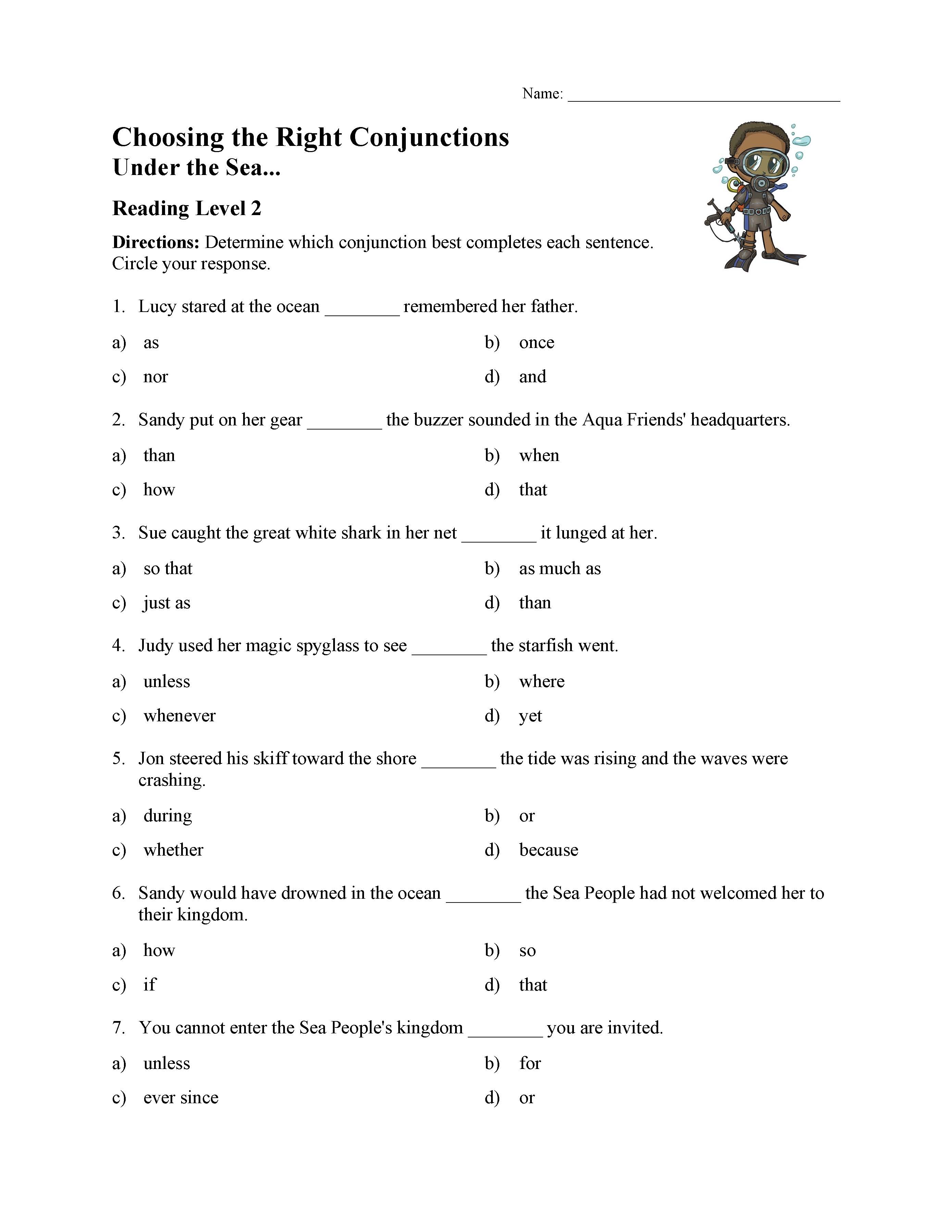 Choosing The Right Conjunction Worksheet