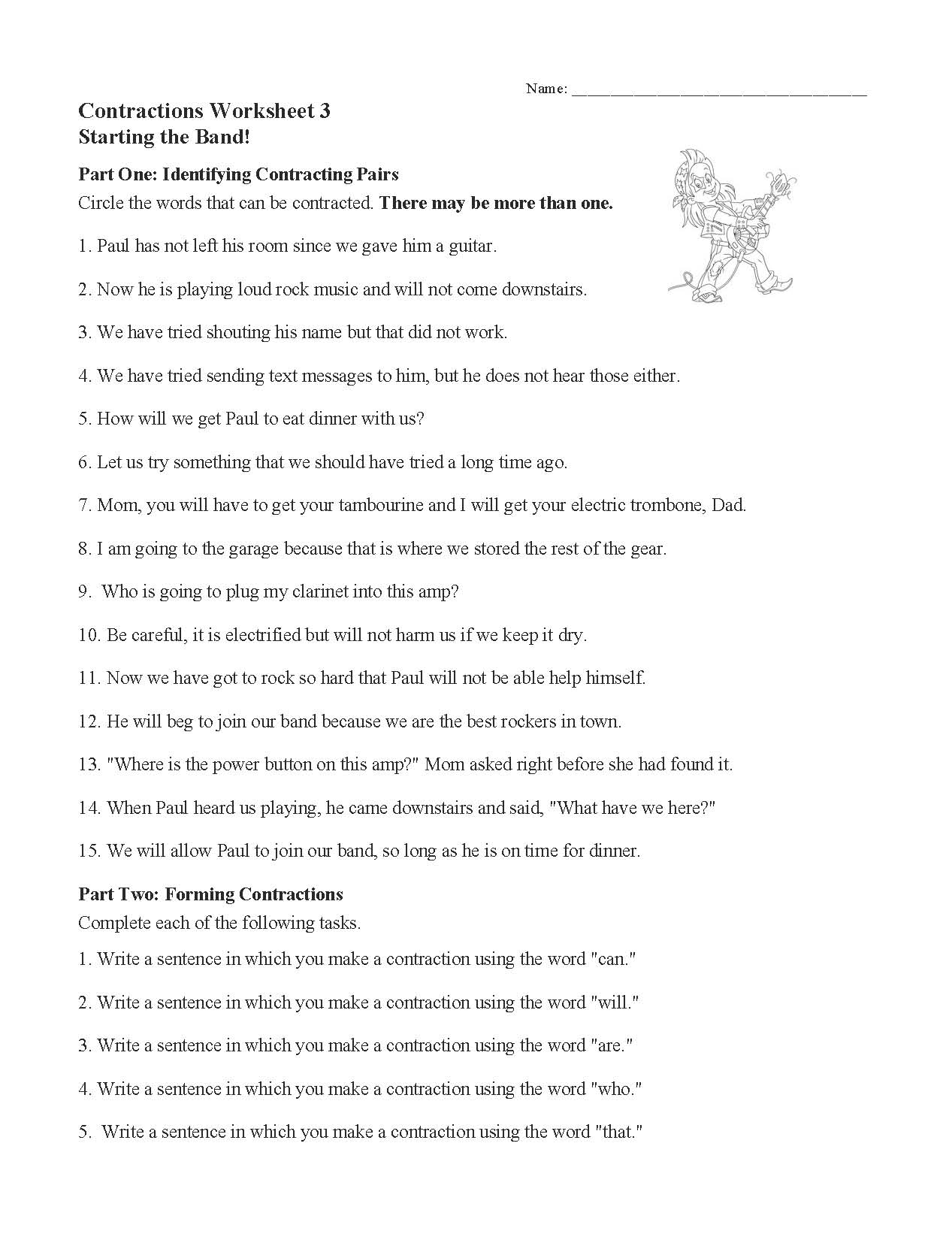 Contractions Worksheet 3