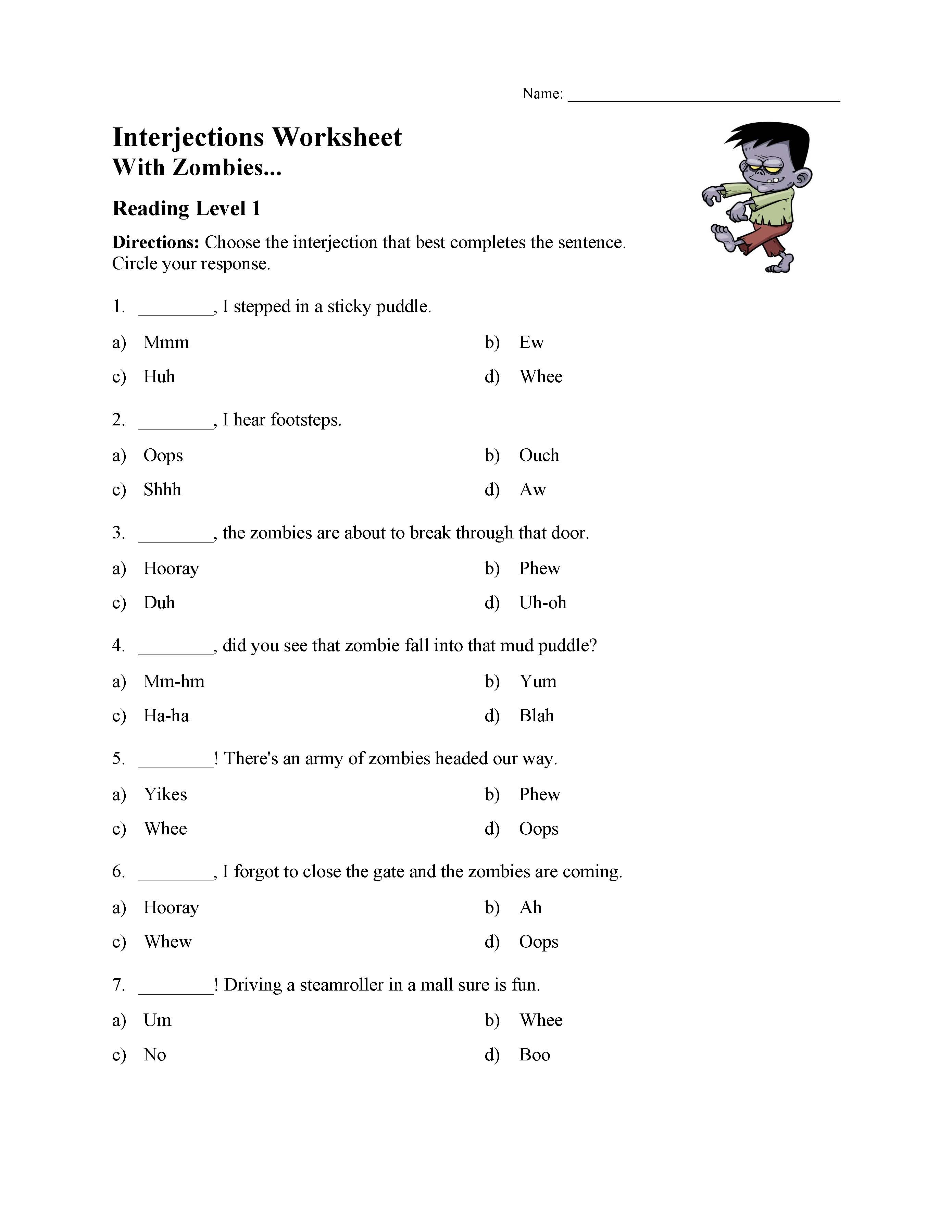 Interjections Worksheet 5th Grade