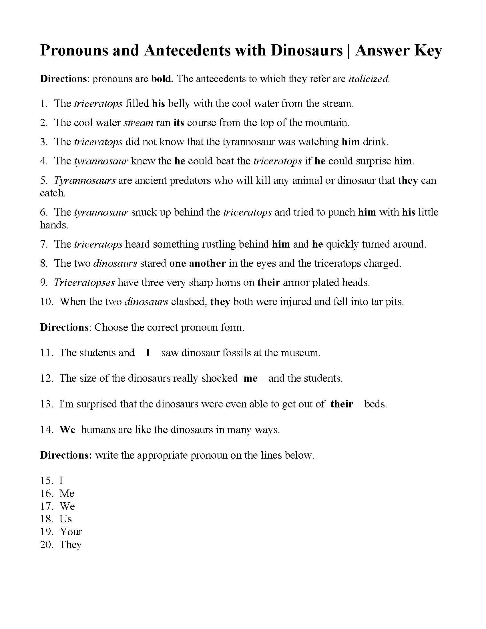 Pronoun Antecedent Agreement Worksheet With Answers