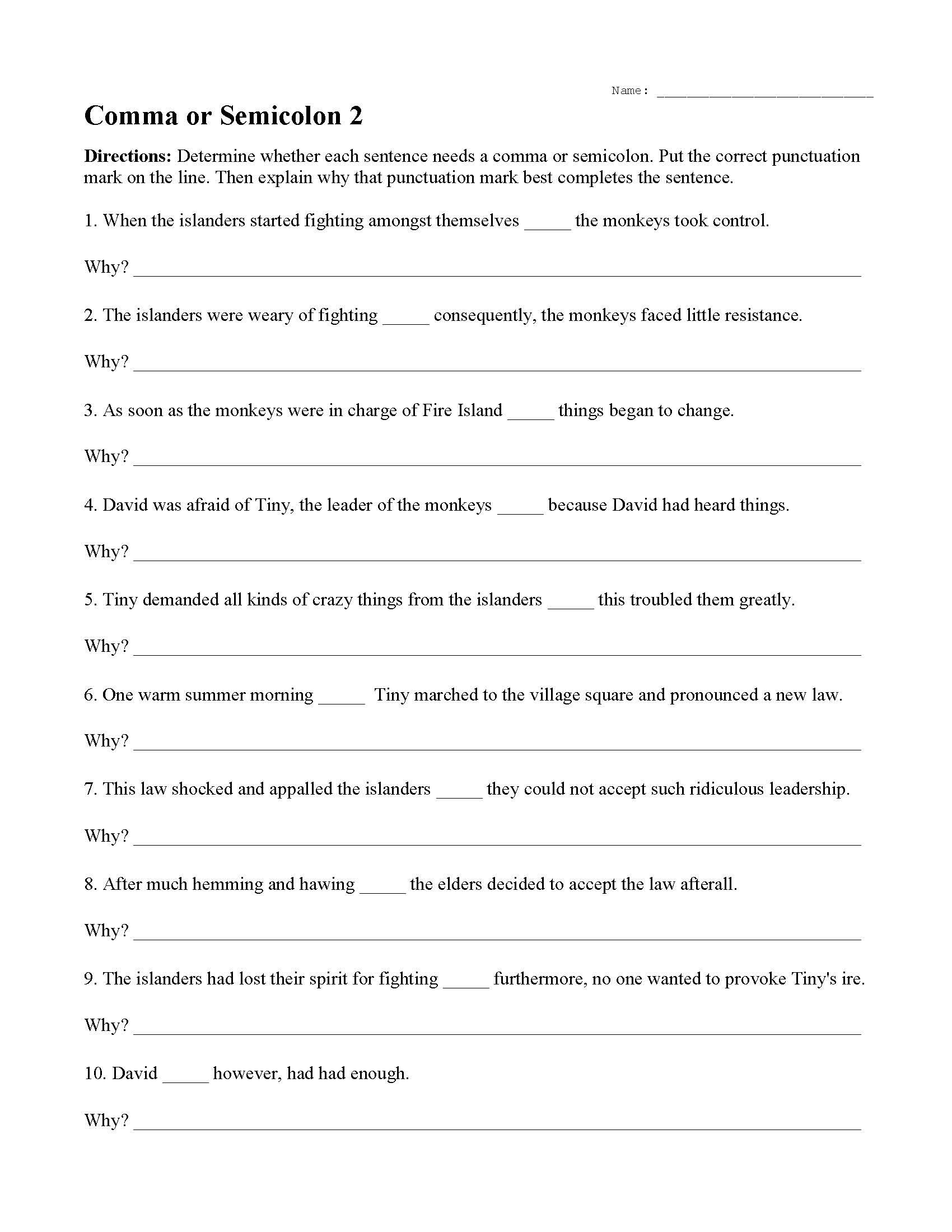 Commas Or Semicolons Worksheet 2