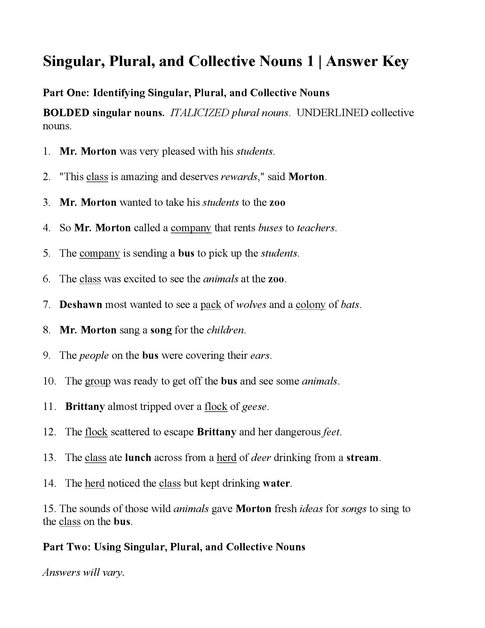 Singular Plural And Collective Nouns Worksheet