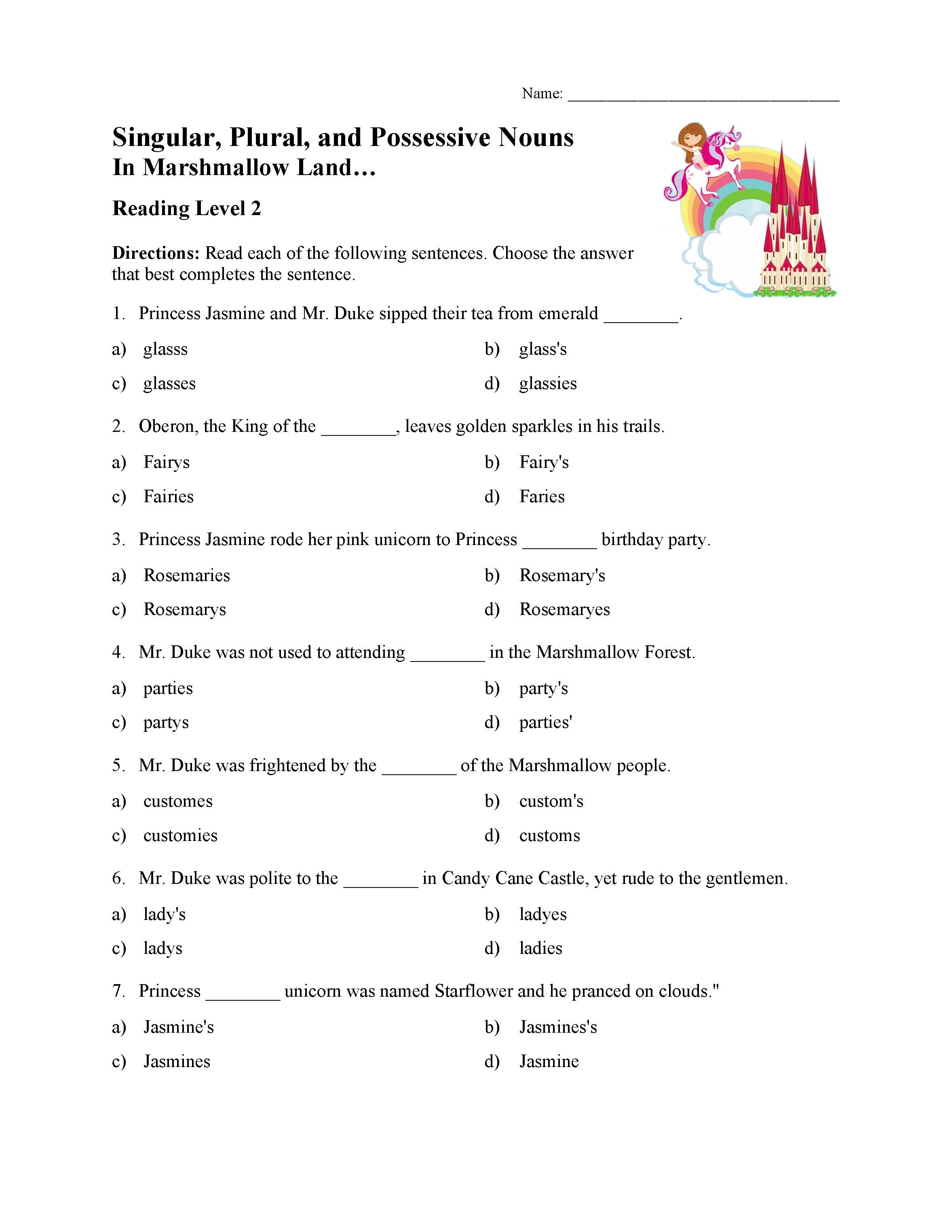 Singular Plural And Possessive Nouns Test 1