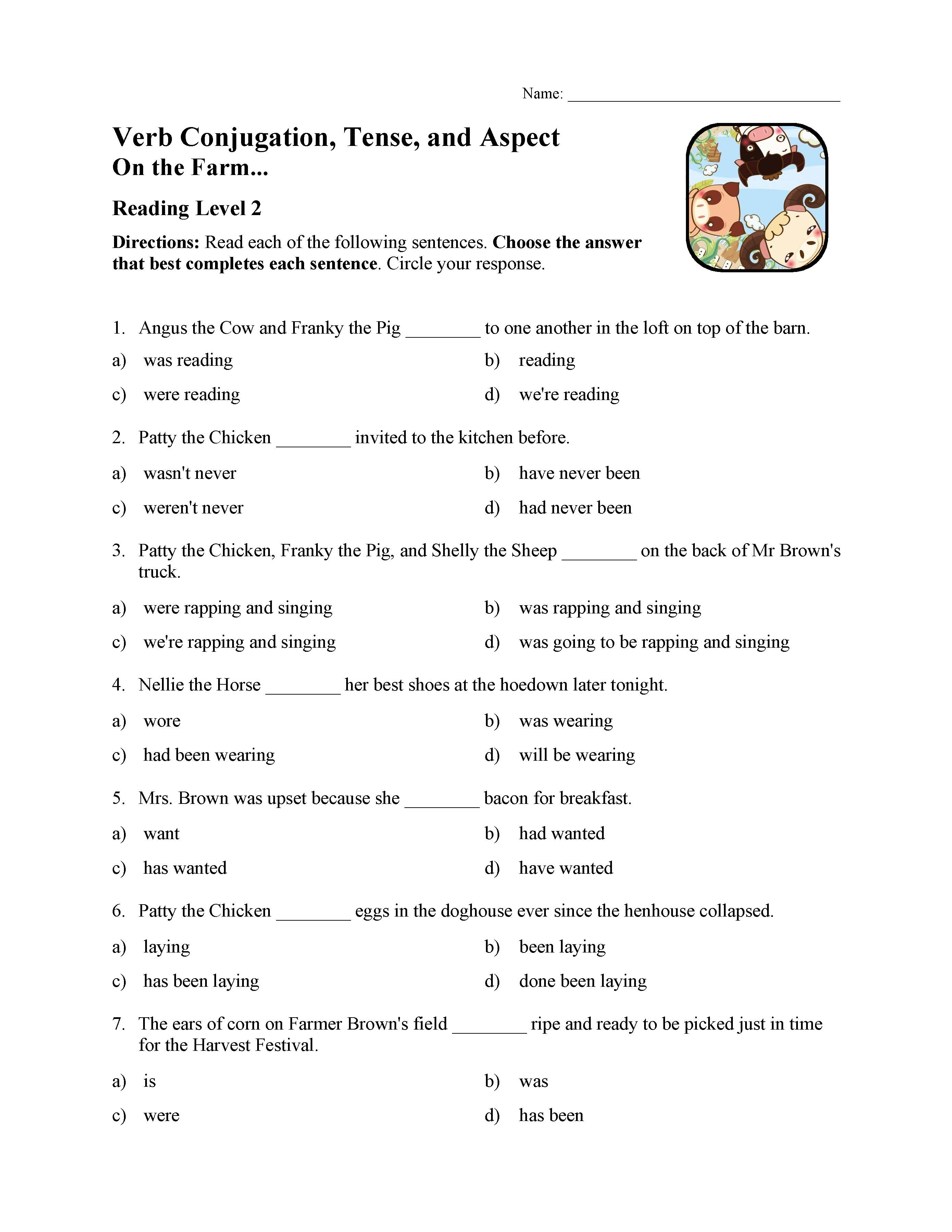 Verb Conjugation Tense And Aspect Test