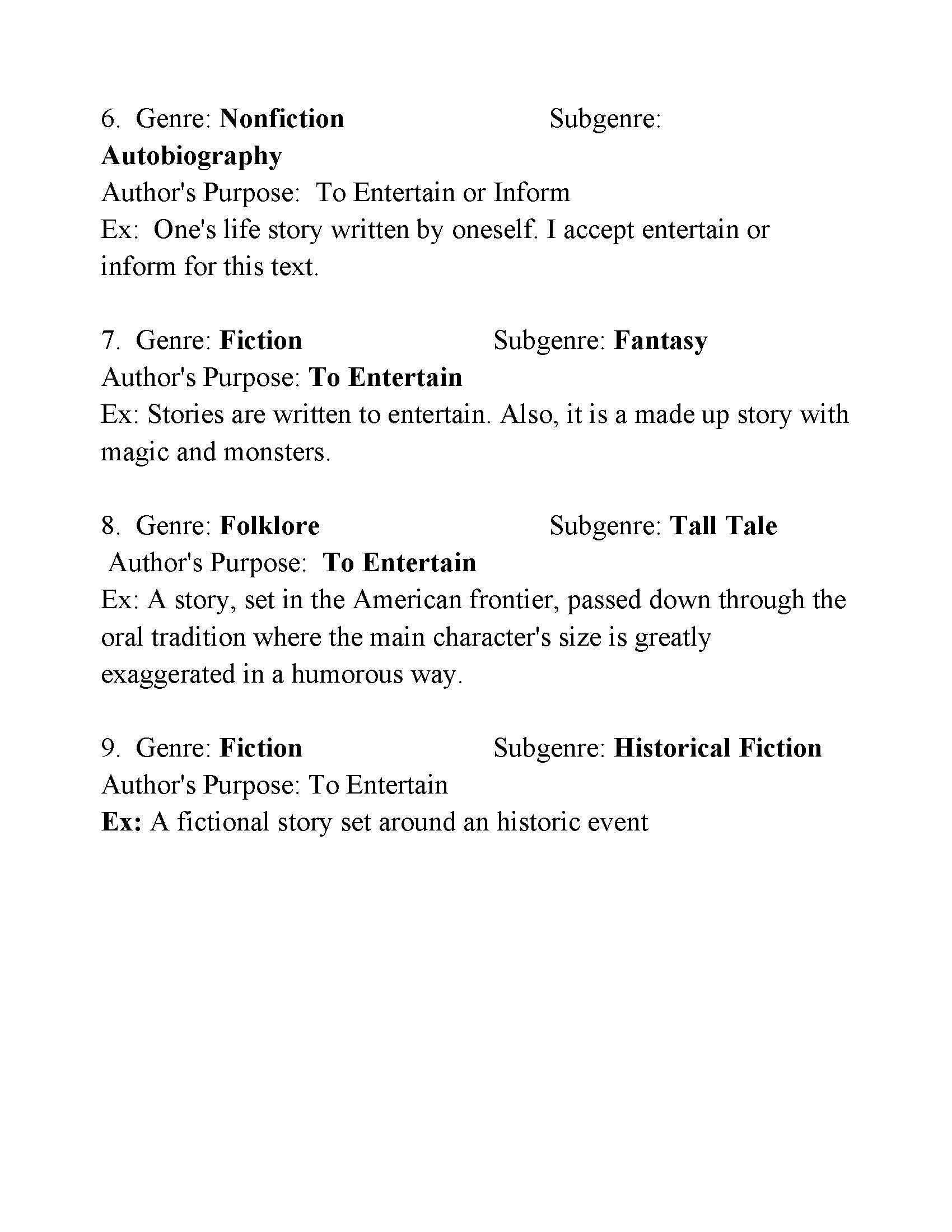Identifying Authors Purpose Worksheet