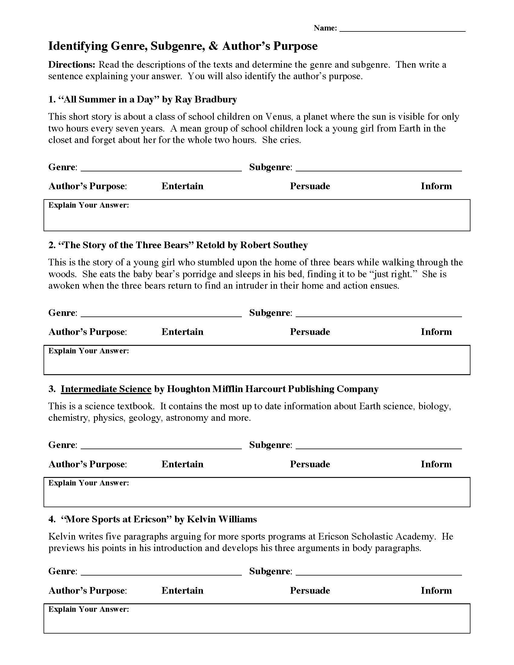 30 Identifying Authors Purpose Worksheet