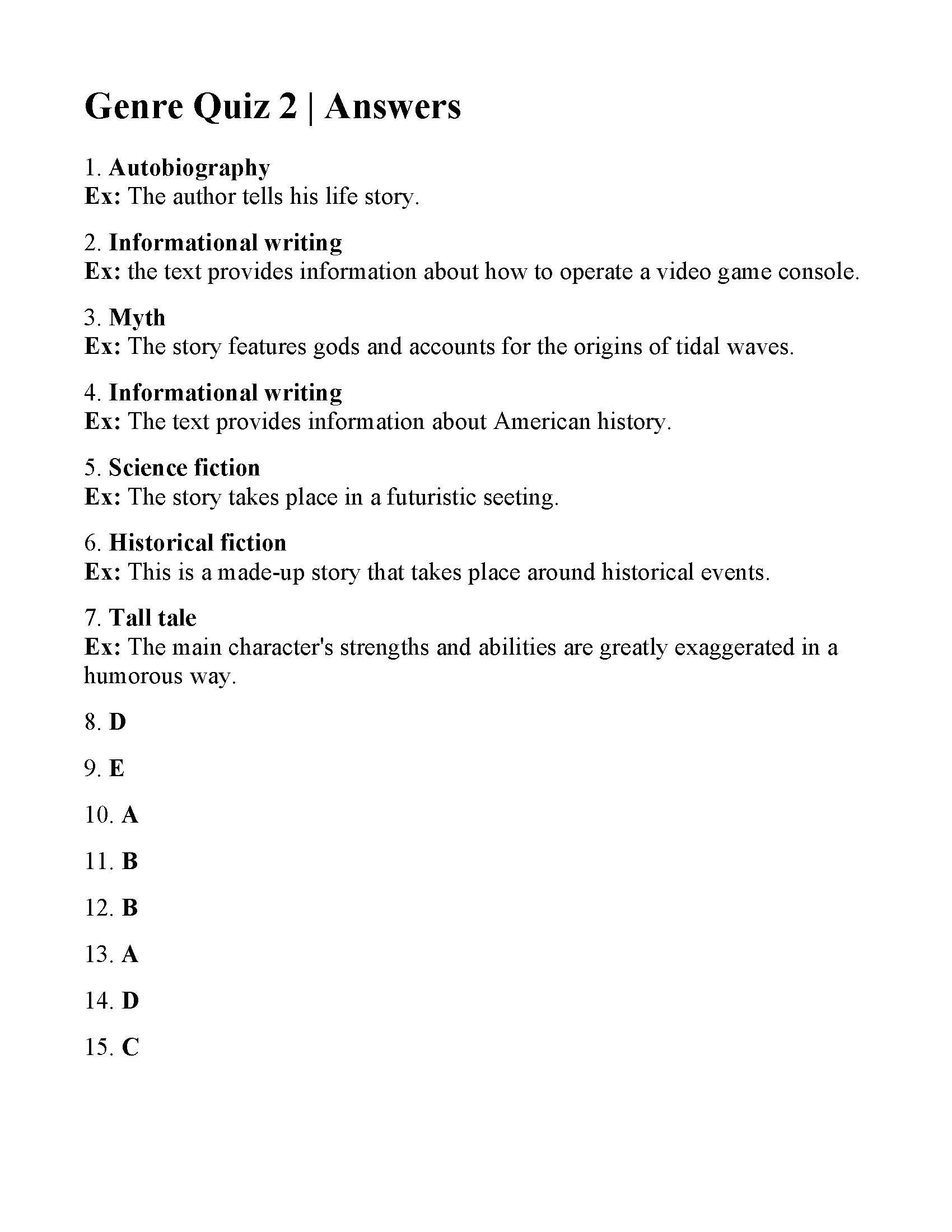 Genre Quiz 2
