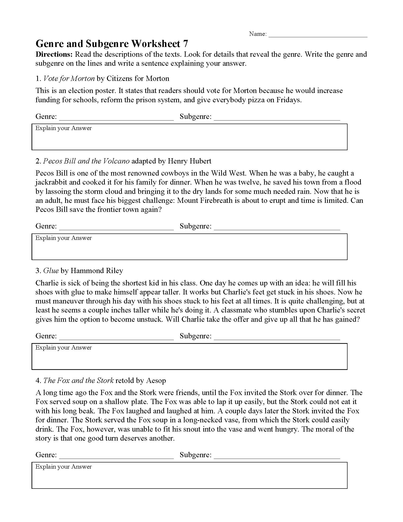 Genre Worksheet 7