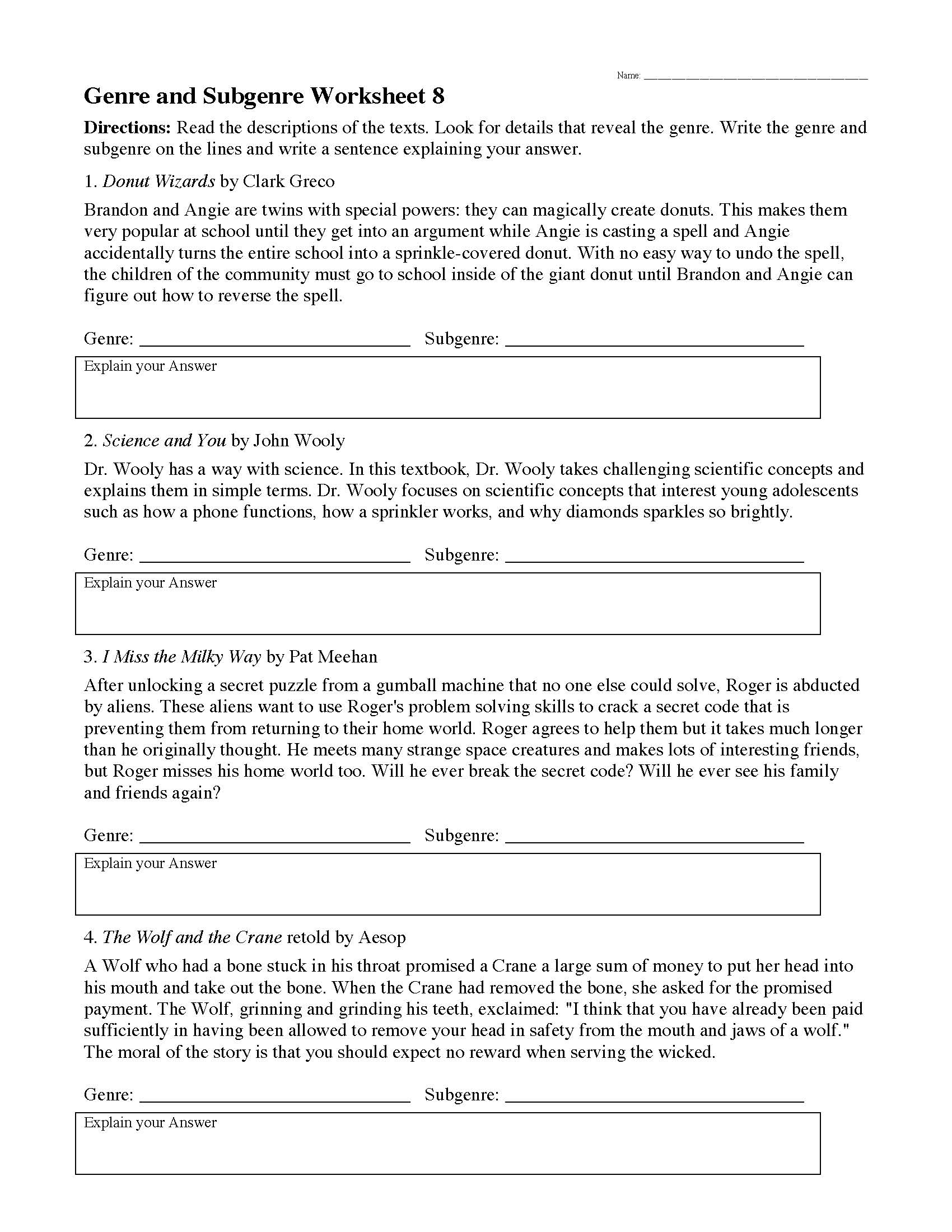 Genre Worksheet 8