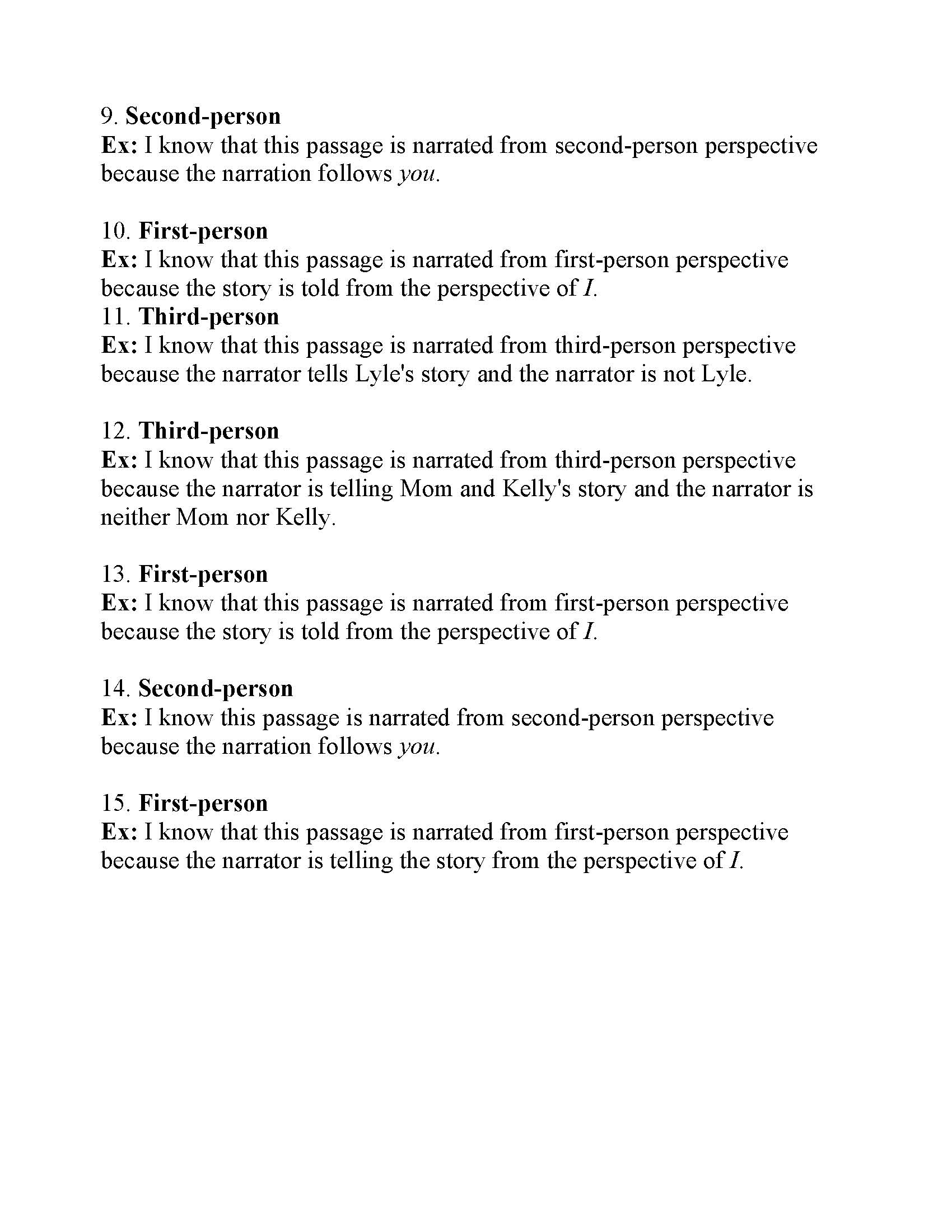 Point Of View Worksheet 11 Answers