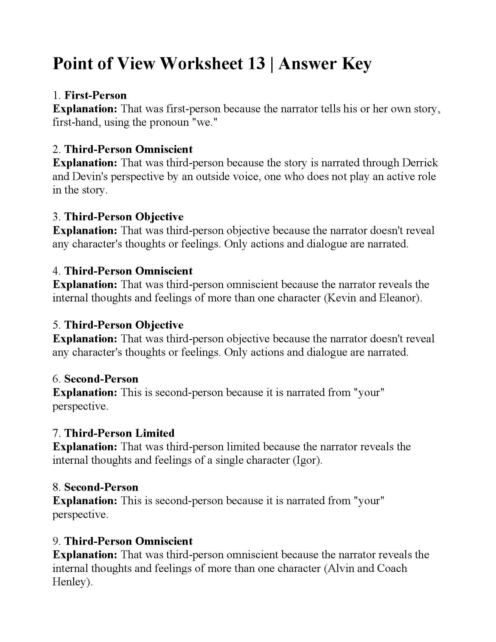 Point Of View Worksheet 13