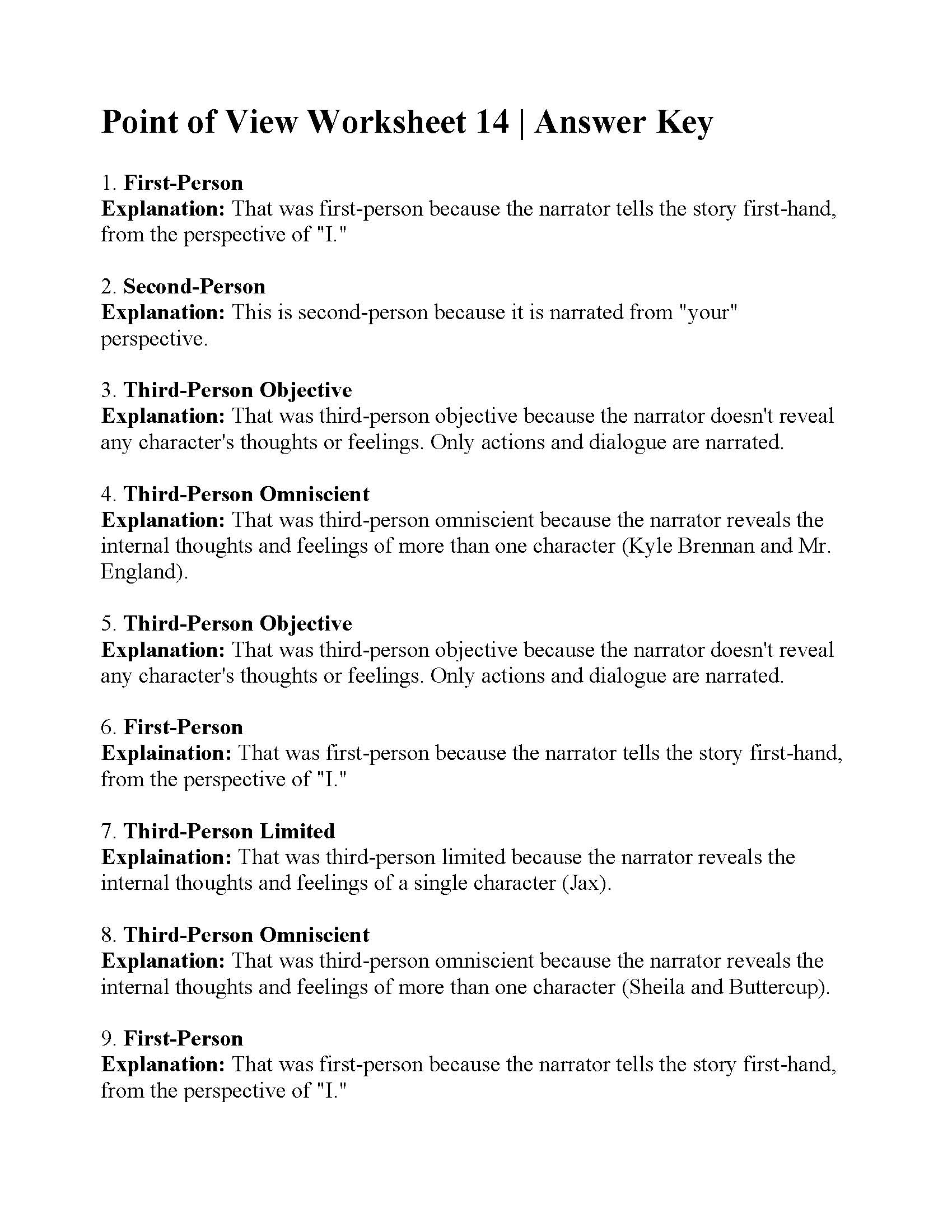 Point Of View Worksheet 14