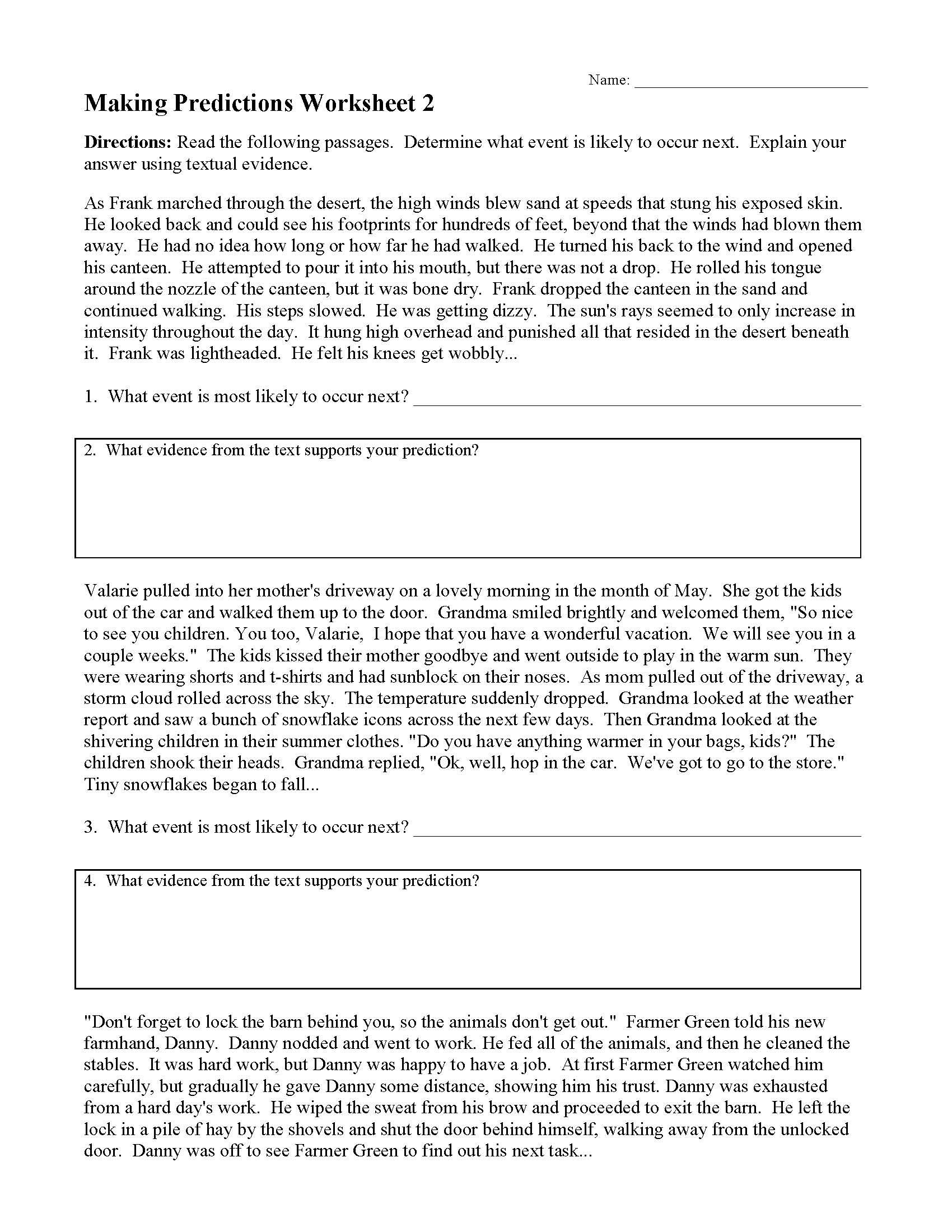 Making Predictions Worksheet 2