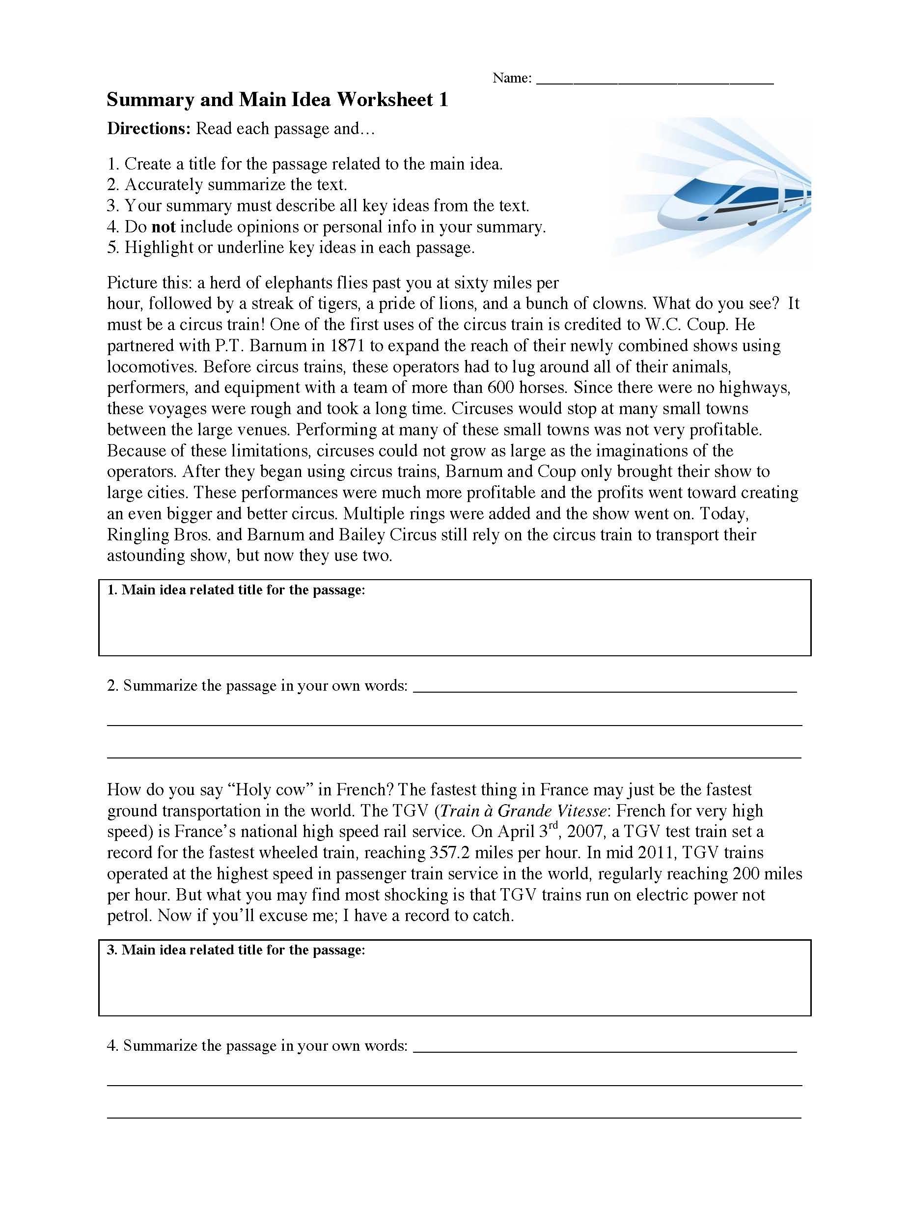 Summary And Main Idea Worksheet 1