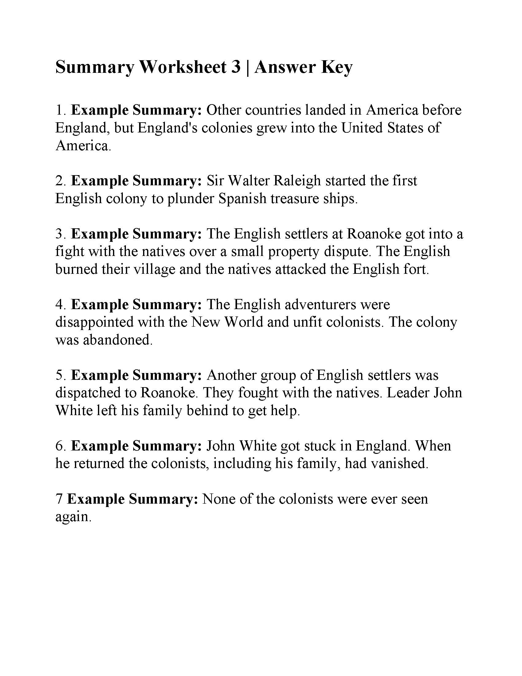 Summary Worksheet 3