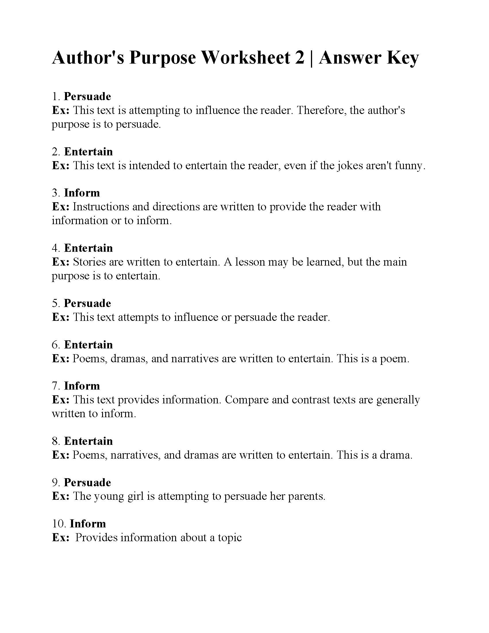 Author S Purpose Worksheet 2
