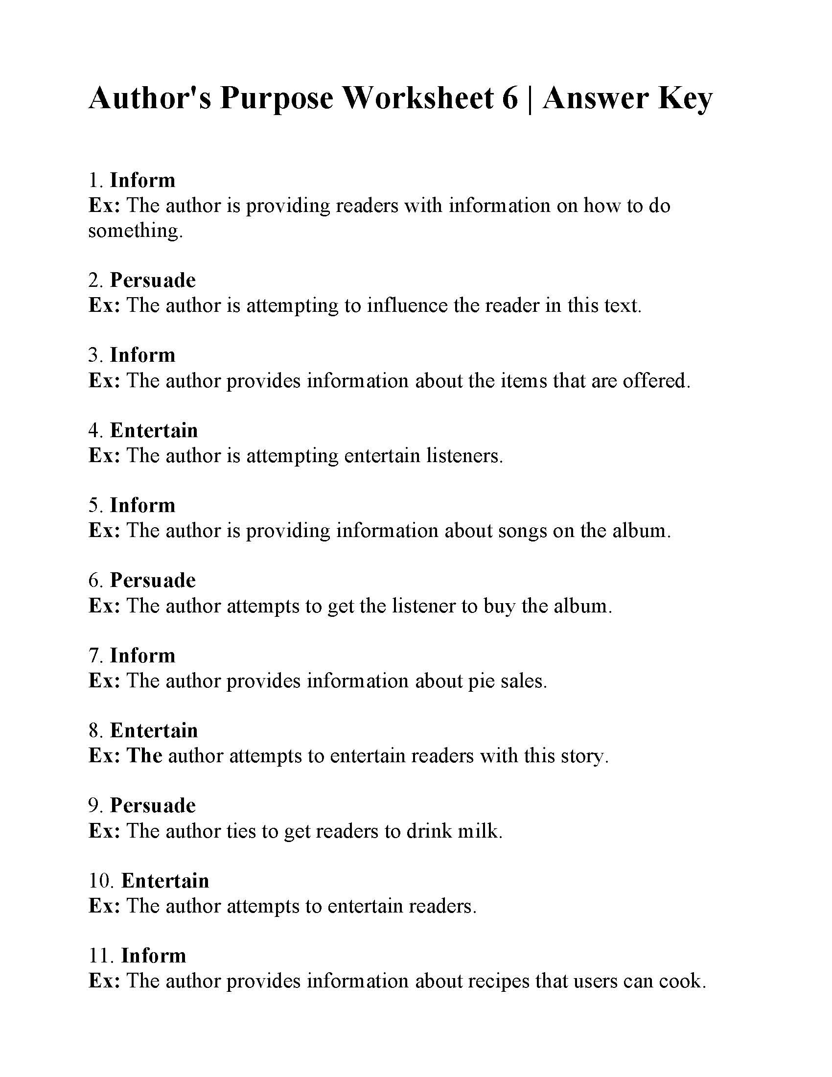 Printables Of Author S Purpose Worksheet Answer Key
