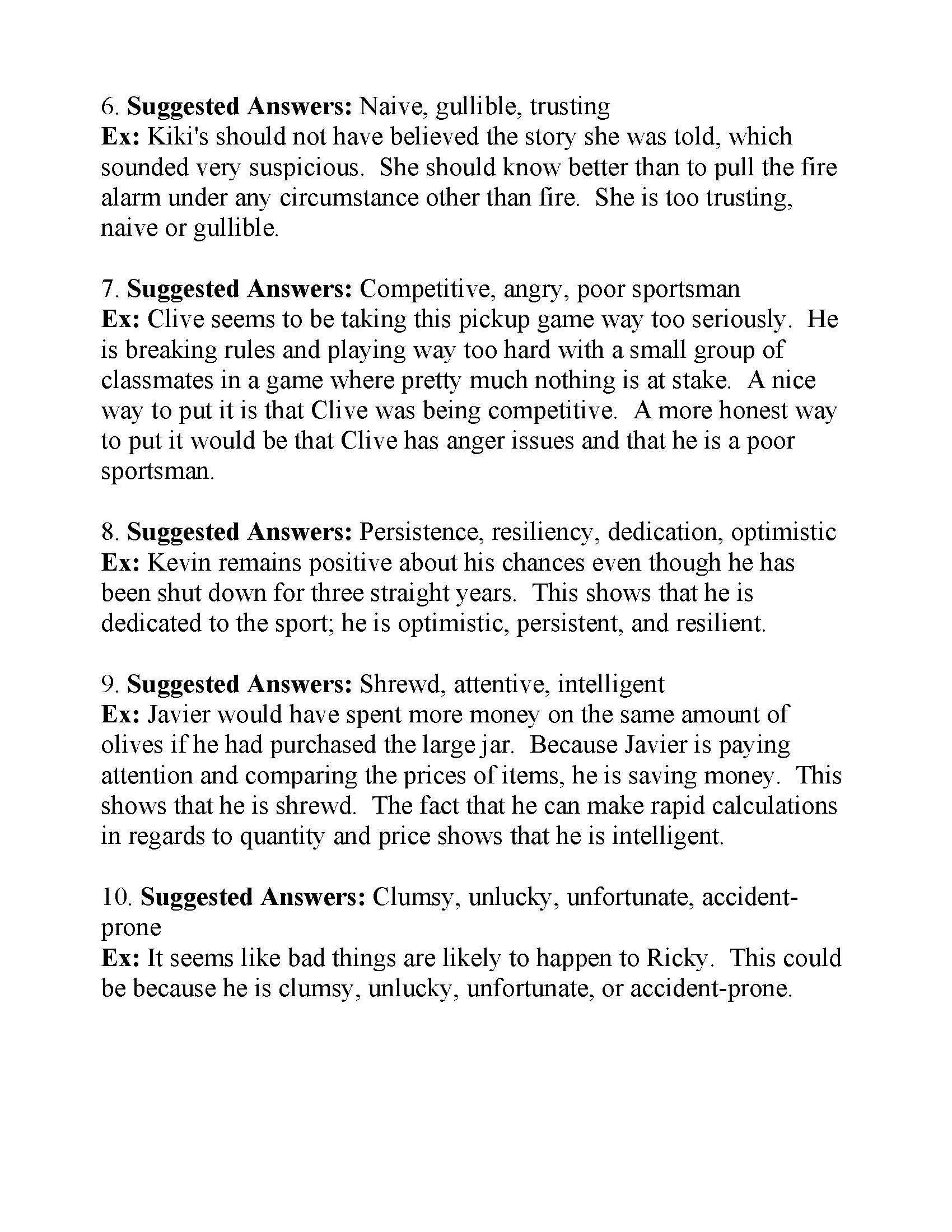 34 Characterization Worksheet 1 Answers
