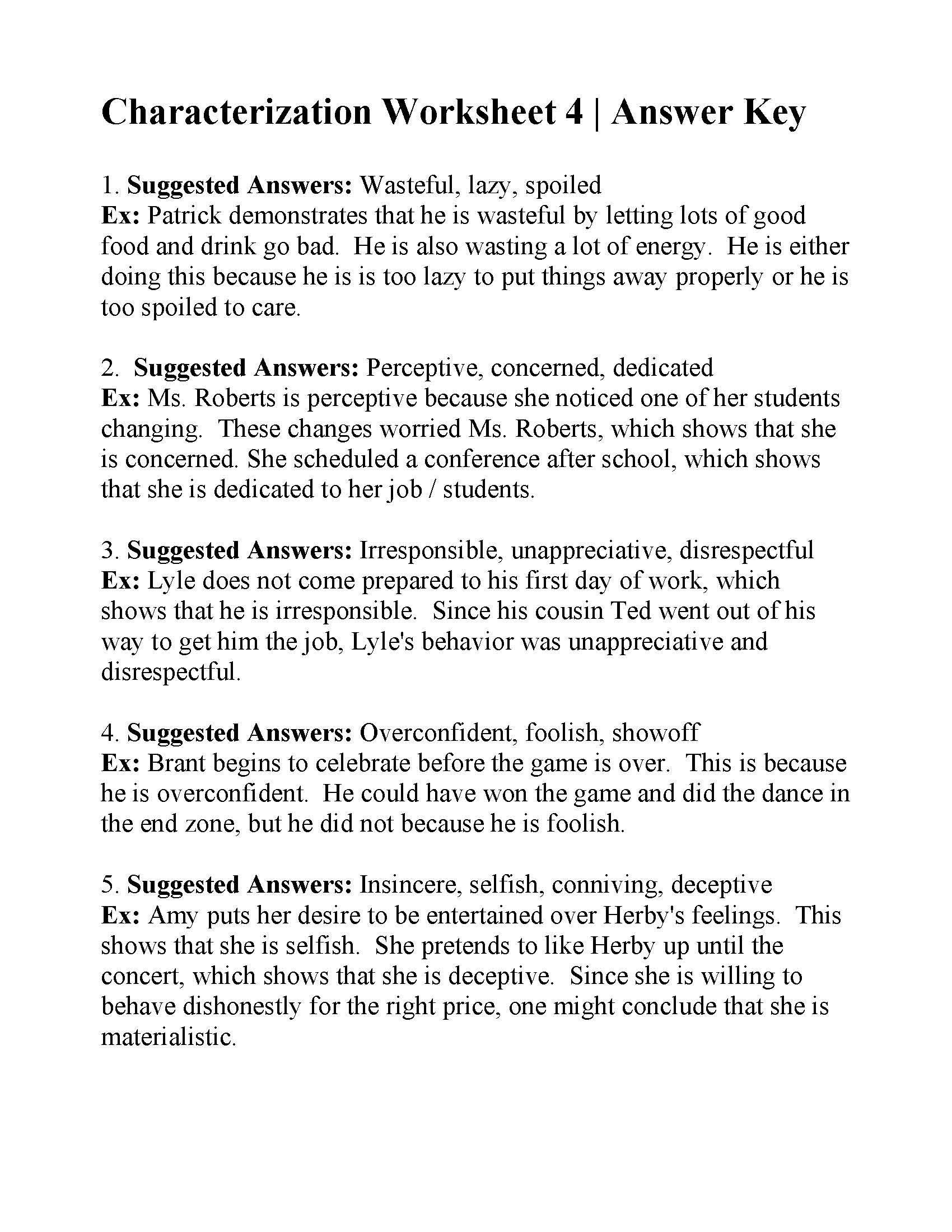 Characterization Worksheet 4