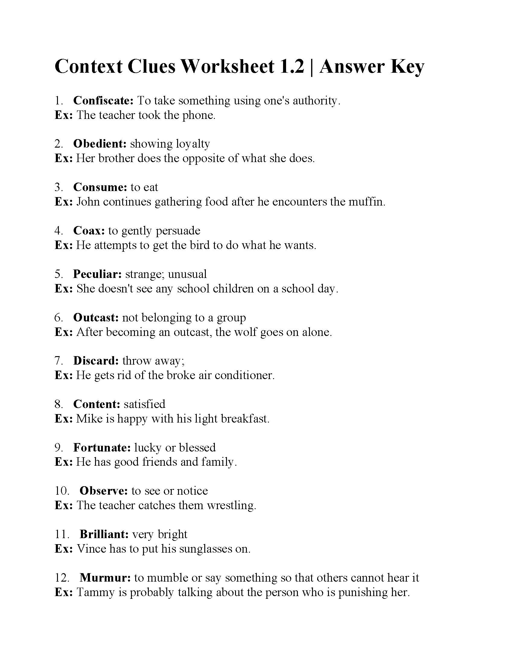 Context Clues Worksheet Grade 6