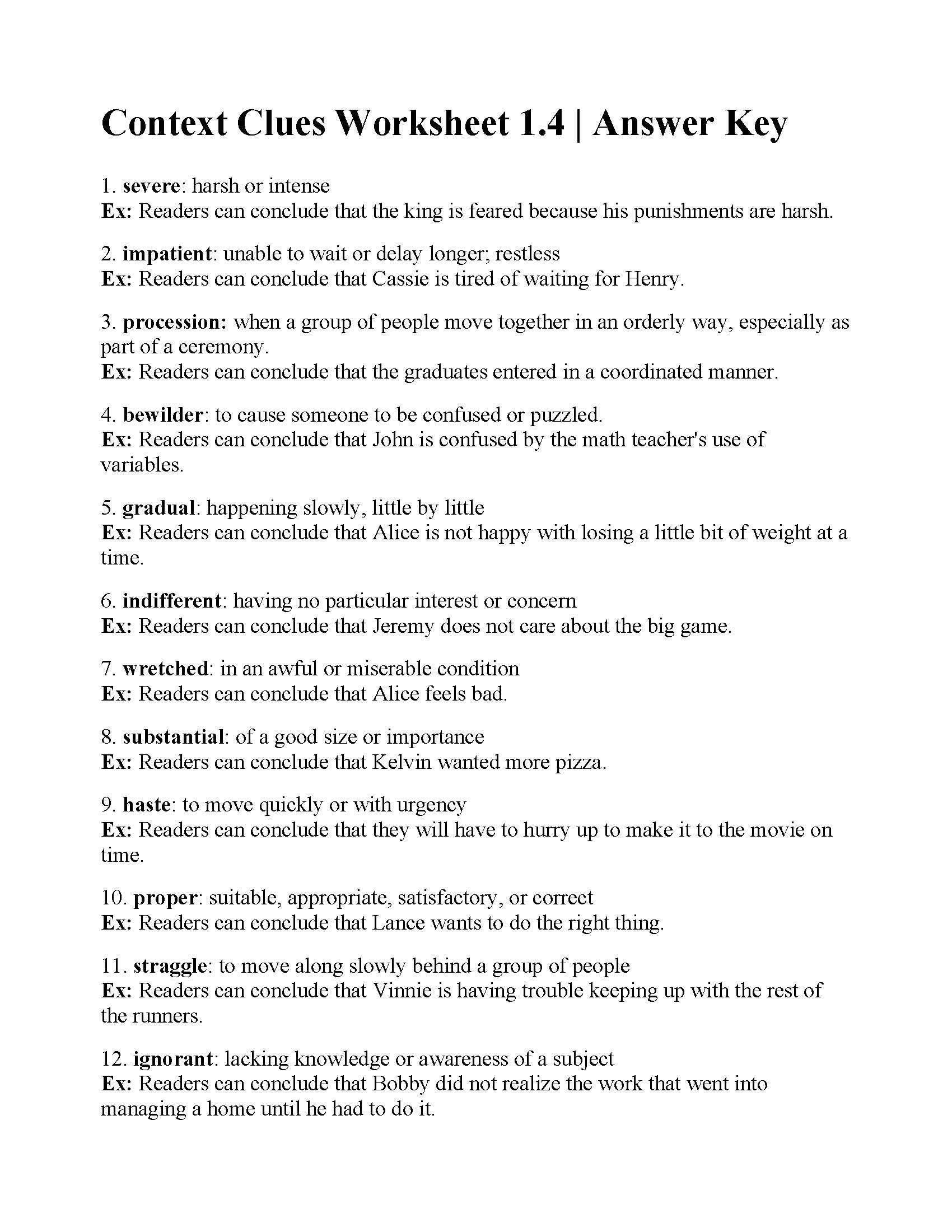 Context Clues Worksheet Ged
