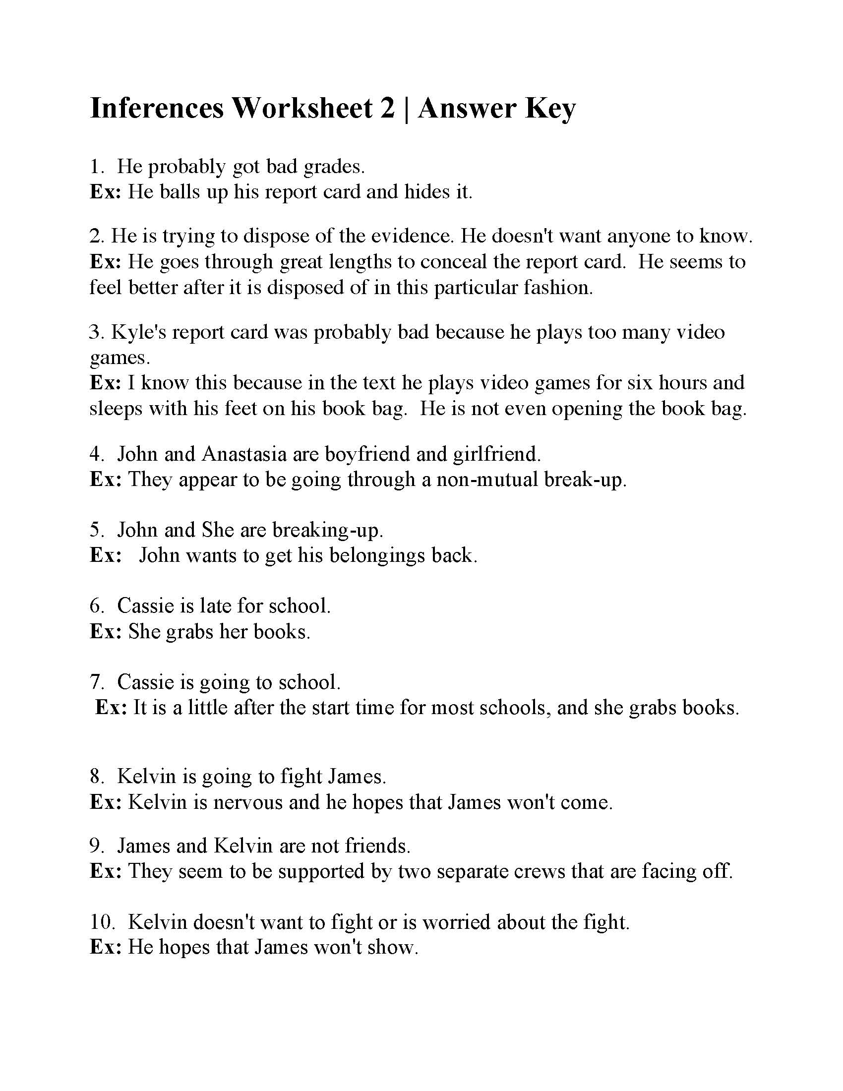 Inferences Worksheet 2
