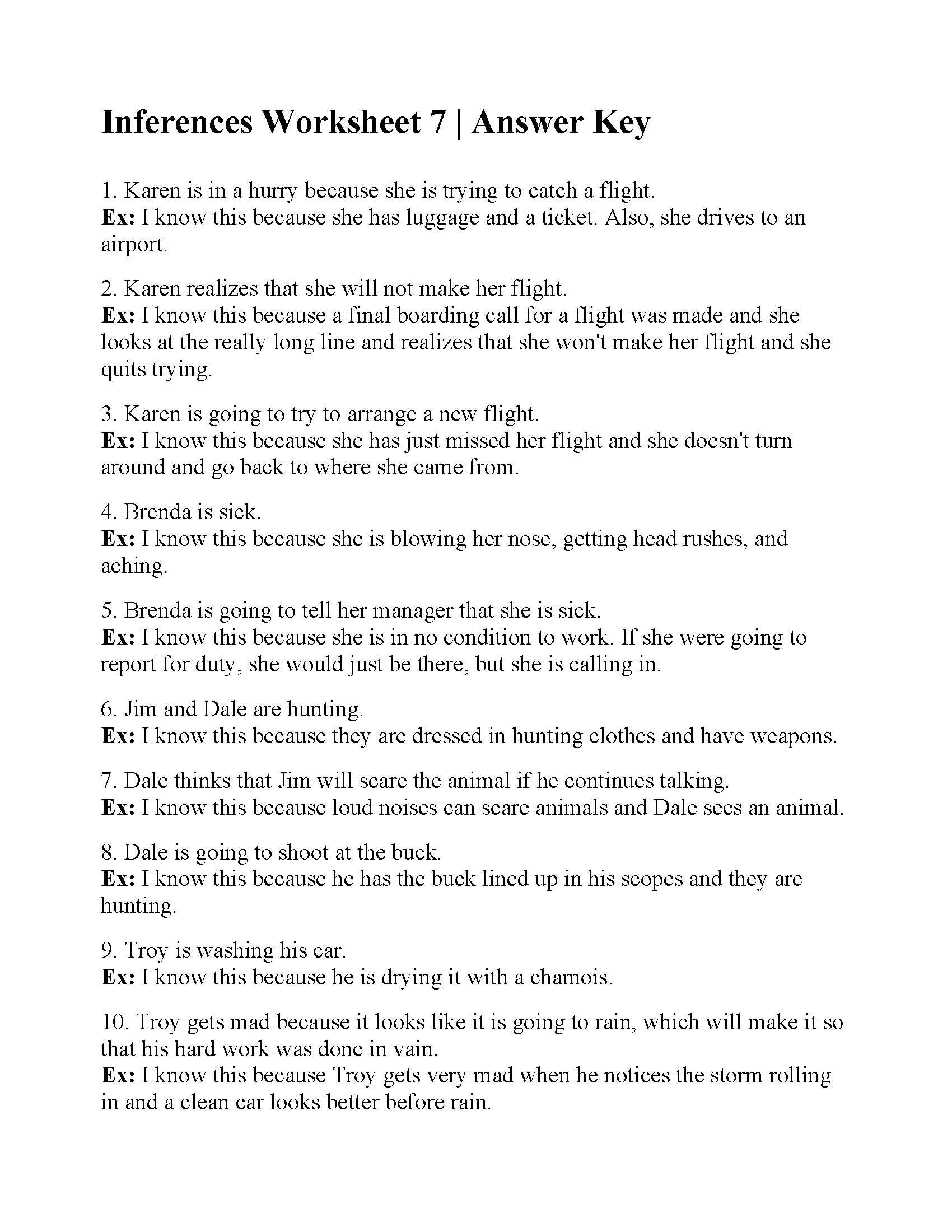 Inferences Worksheet 7