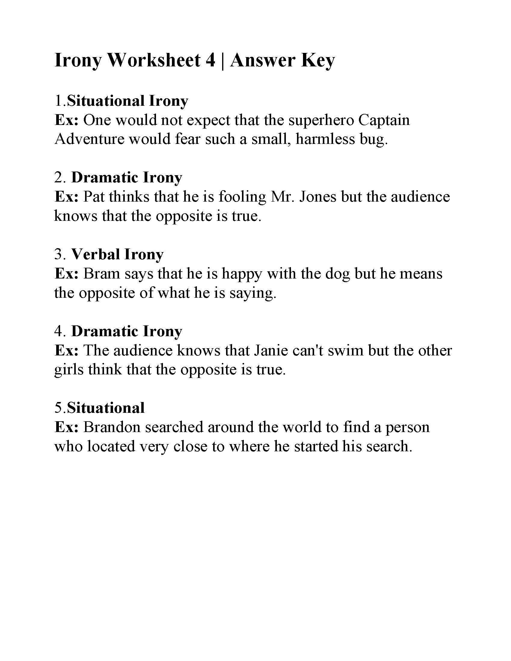Irony Worksheet 4