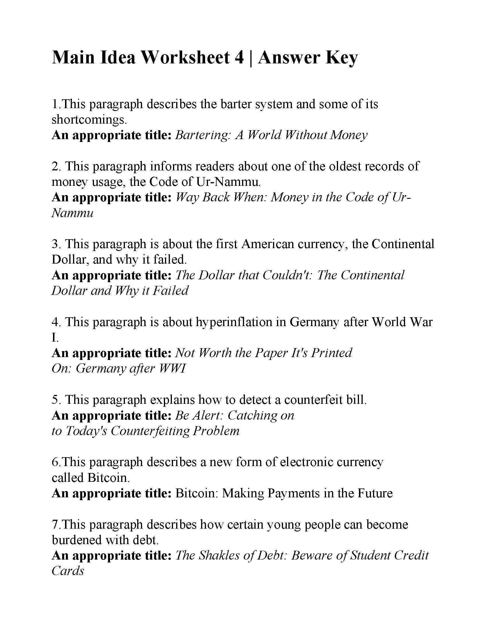 Main Idea Worksheet 4