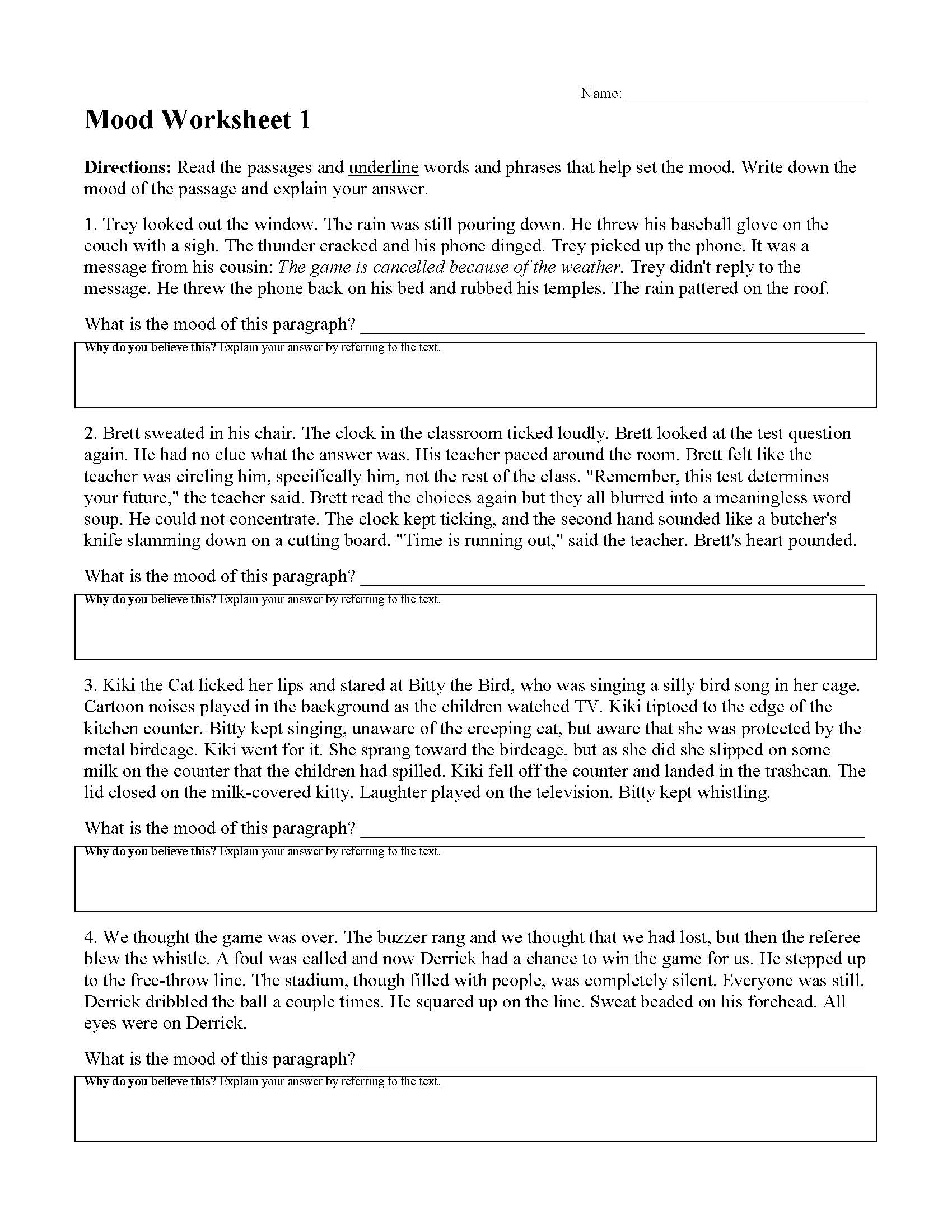 Mood Worksheet 1