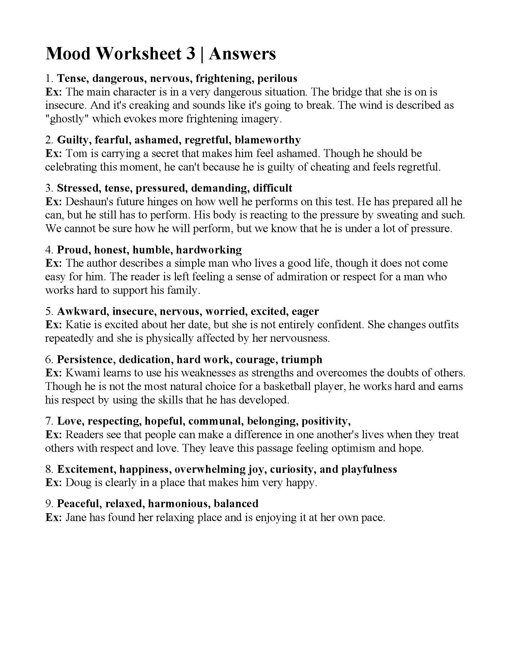 Mood Worksheet 3