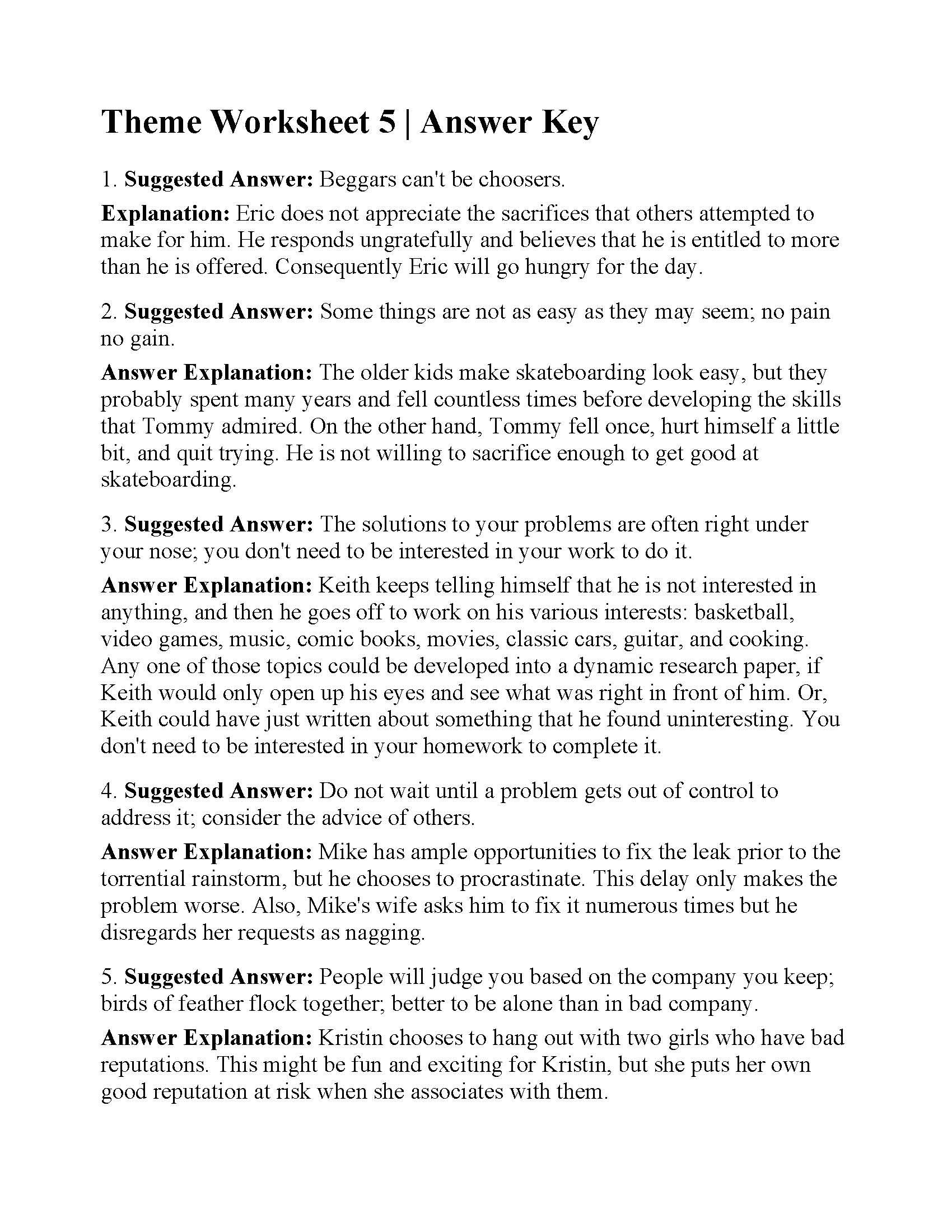 Theme Worksheet 5
